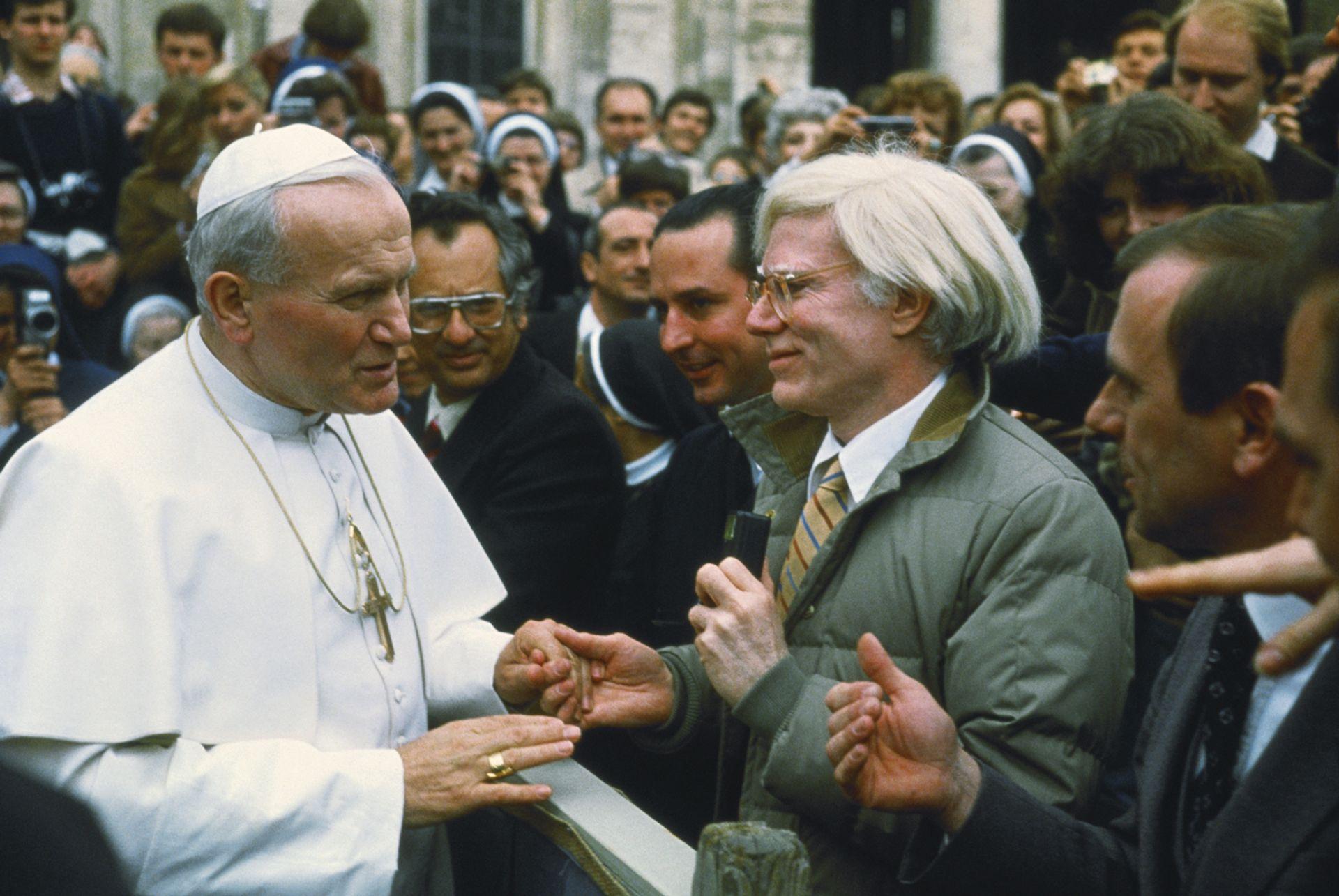 Pope John Paul II with Andy Warhol Lionello Fabbri/SCIENCE SOURCE