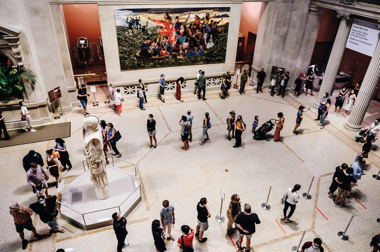 Socially distanced visitors in the Great Hall of the Metropolitan Museum of Art in New York on 29 August, reopening day Photo: Nina Westervelt/Bloomberg via Getty Images