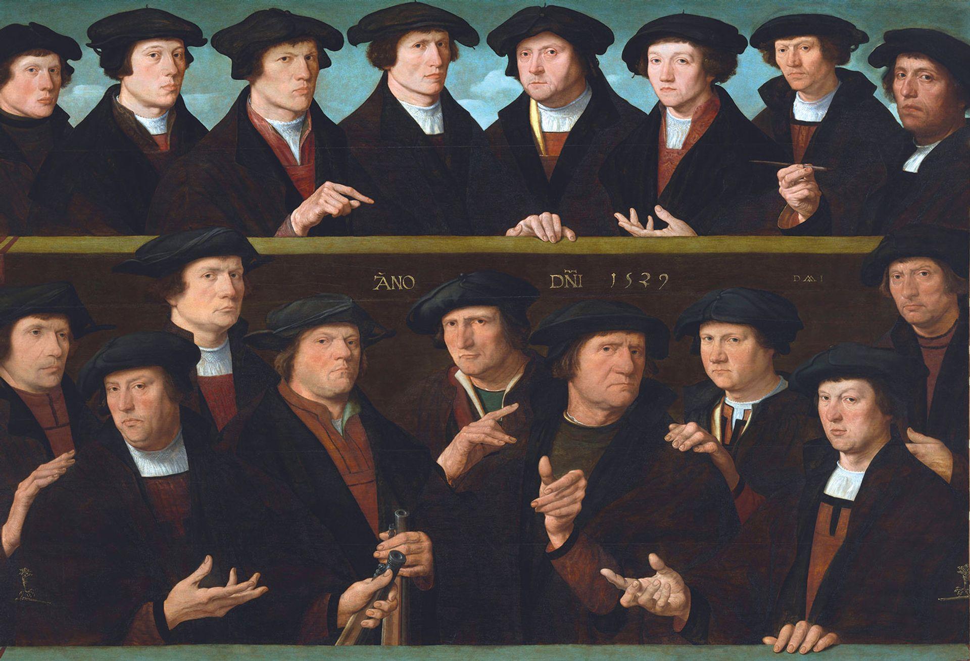 The newly restored Seventeen Guardsmen of the Amsterdam Kloveniersdoelen (Headquarters of the Arquebusiers' Civic Guard) (1529) by Dirck Jacobsz Jacobsz: Courtesy of the Rijksmuseum, Amsterdam