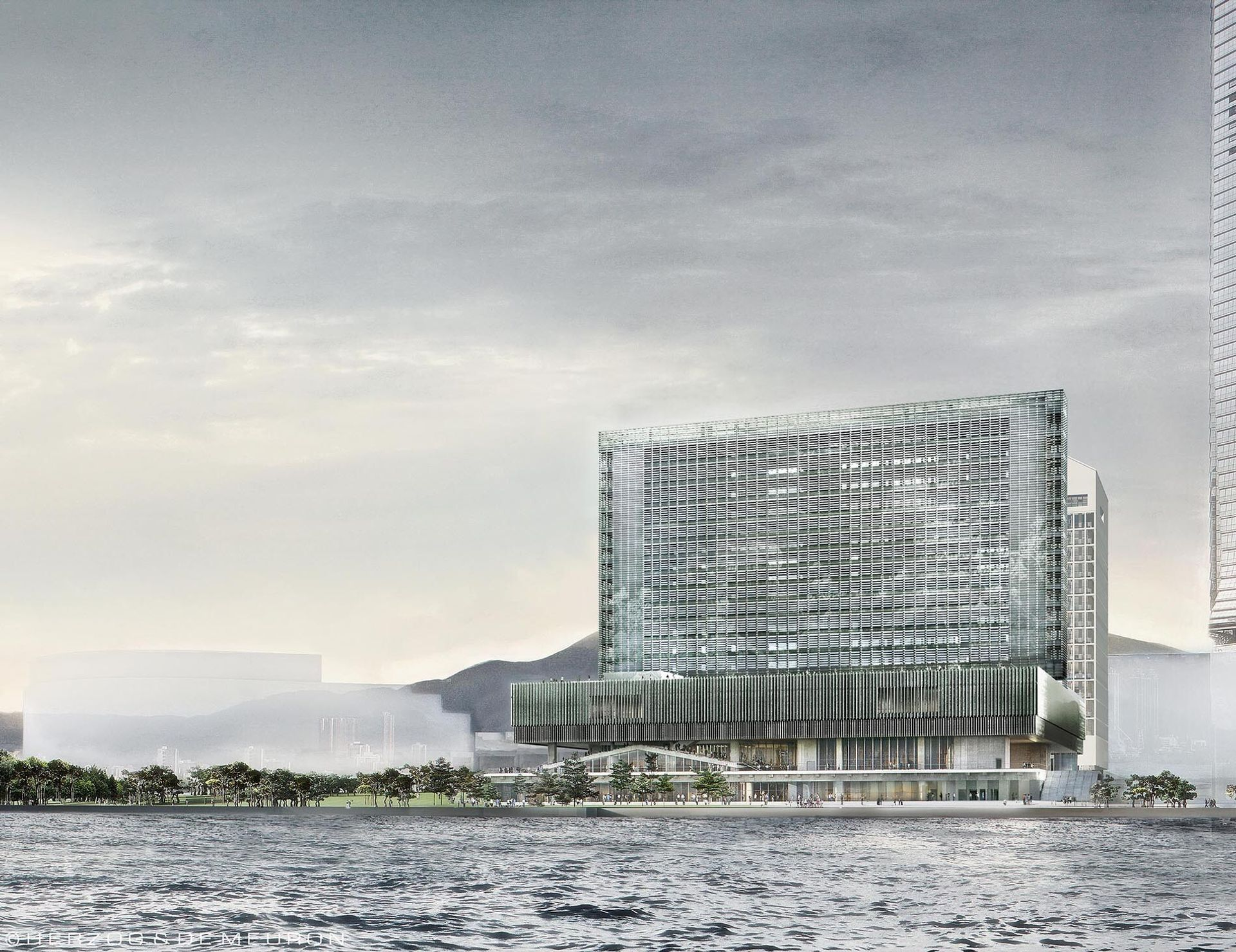 A rendering of the M+ museum of art and visual culture, now due to open in Hong Kong in autumn 2021 © Herzog & de Meuron