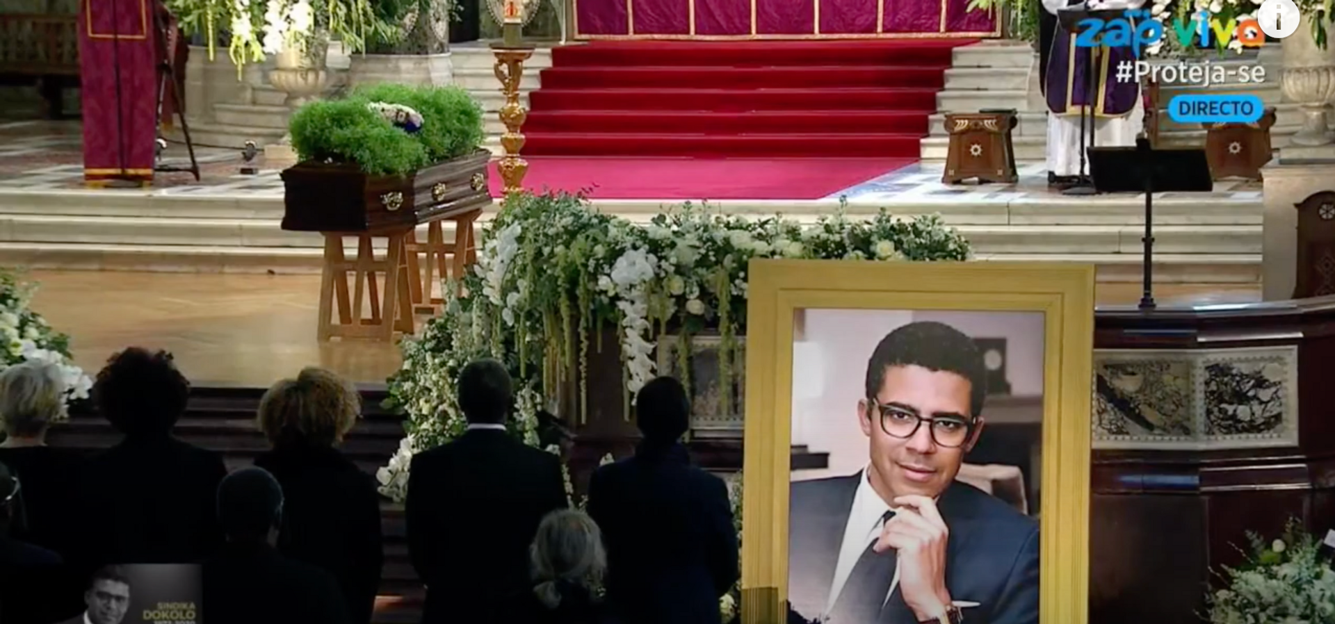 Sindika Dokolo's funeral at Westminster Cathedral was broadcast on Angolan television © Zap TV