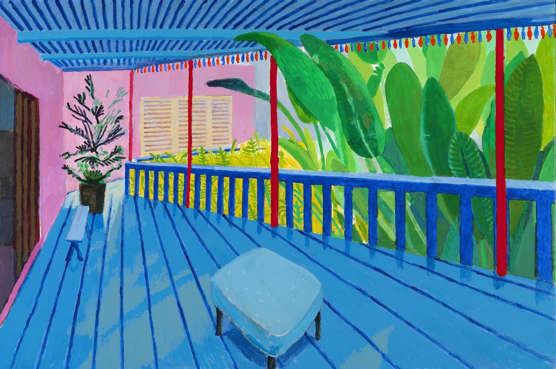 David Hockney's Garden with Blue Terrace (2015)