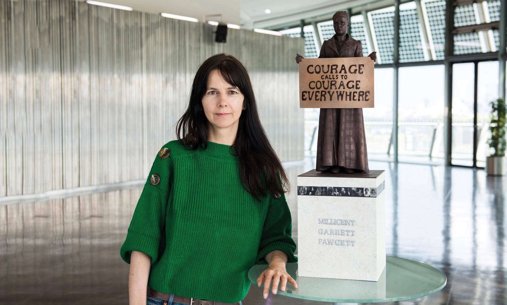 Gillian Wearing with the model of her Millicent Fawcett sculpture Greater London Authority