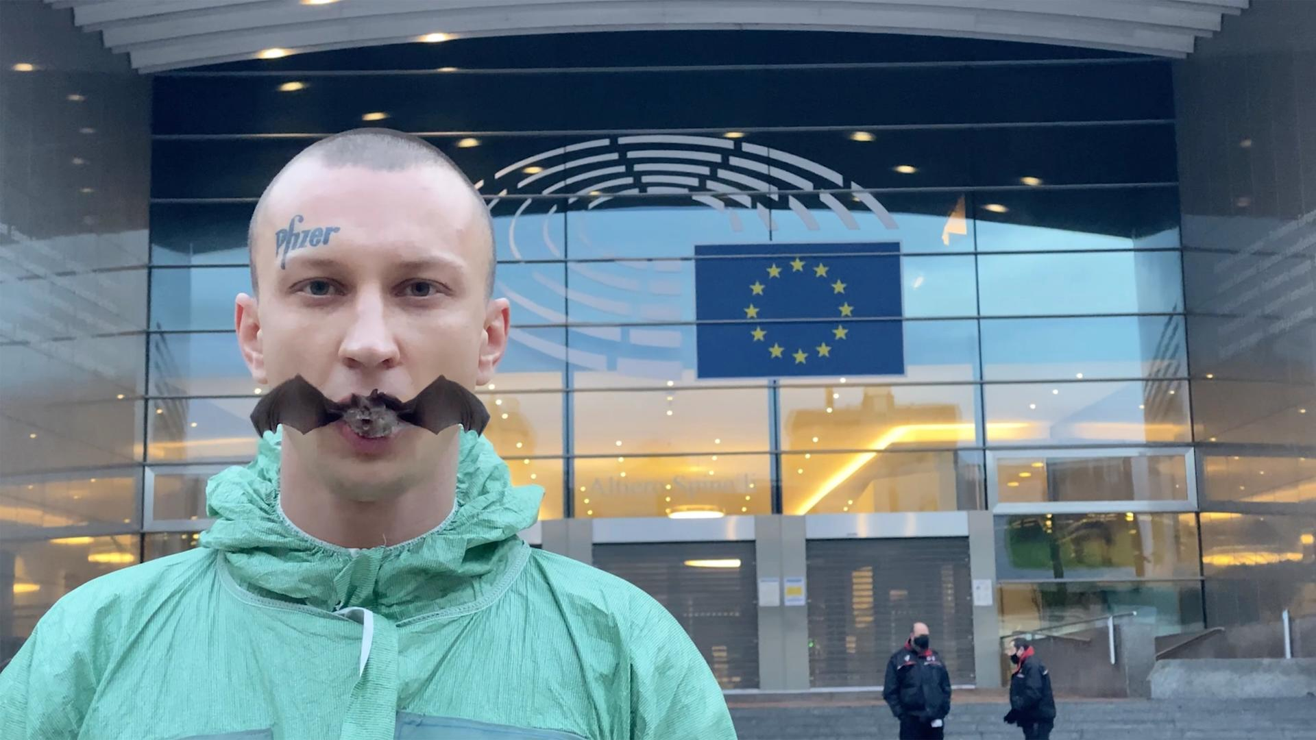 Petr Davydtchenko consumed a live bat outside the European Parliament building in Brussels last week © Petr Davydtchenko