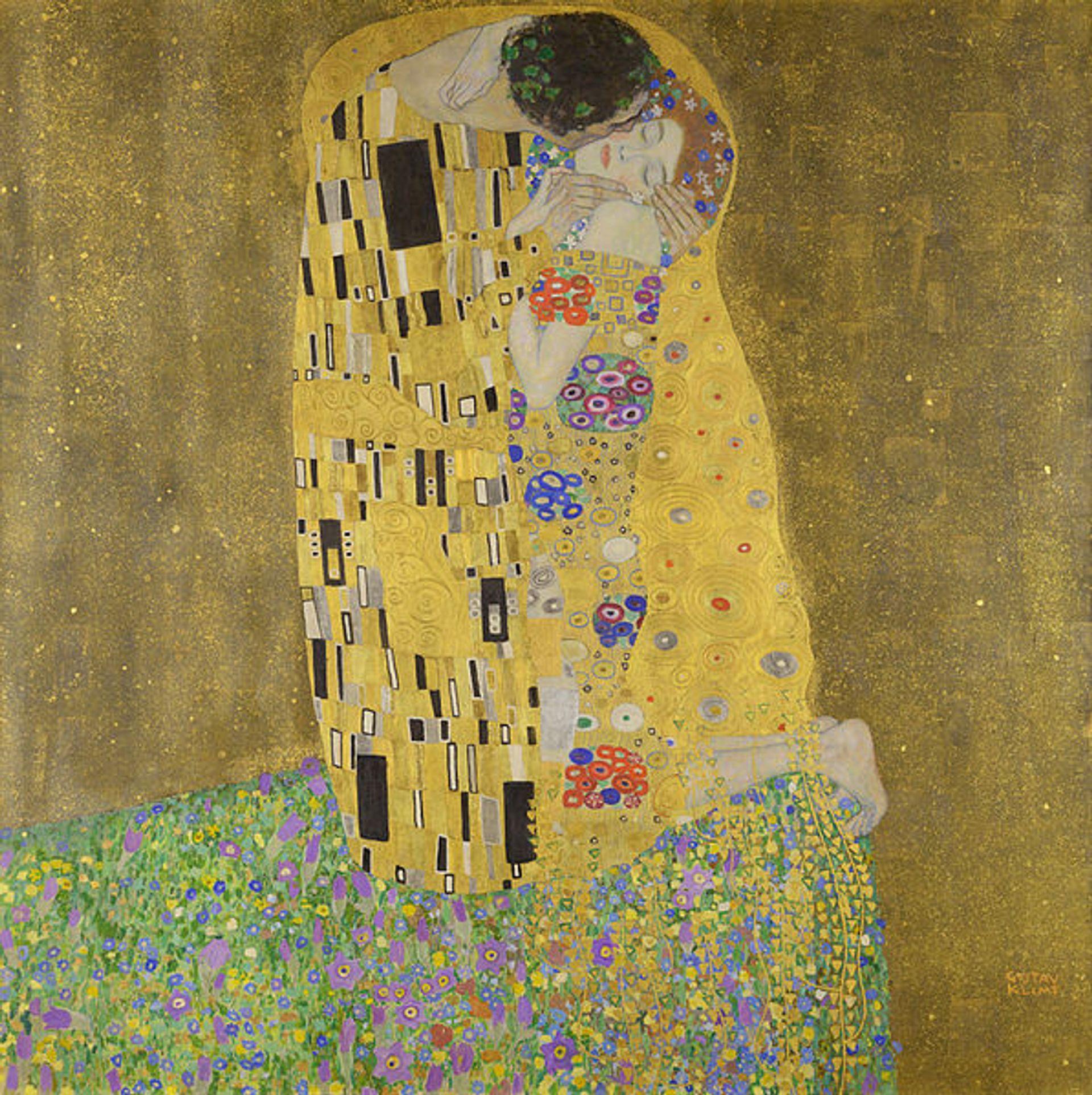 Gustav Klimt, The Kiss (1907-08) wikimedia