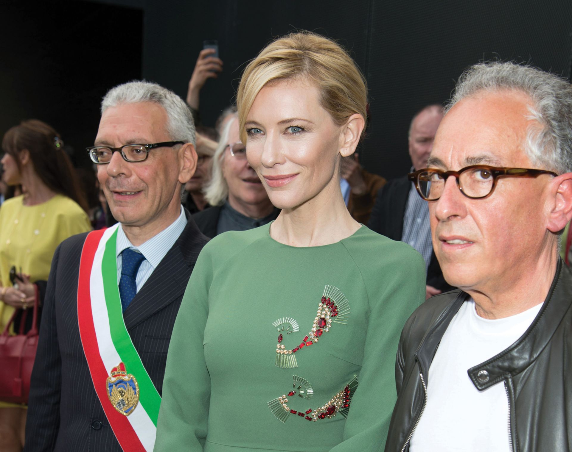The actress Cate Blanchett with Simon Mordant (right) at the Venice Biennale in 2015 Venturelli/Getty Images