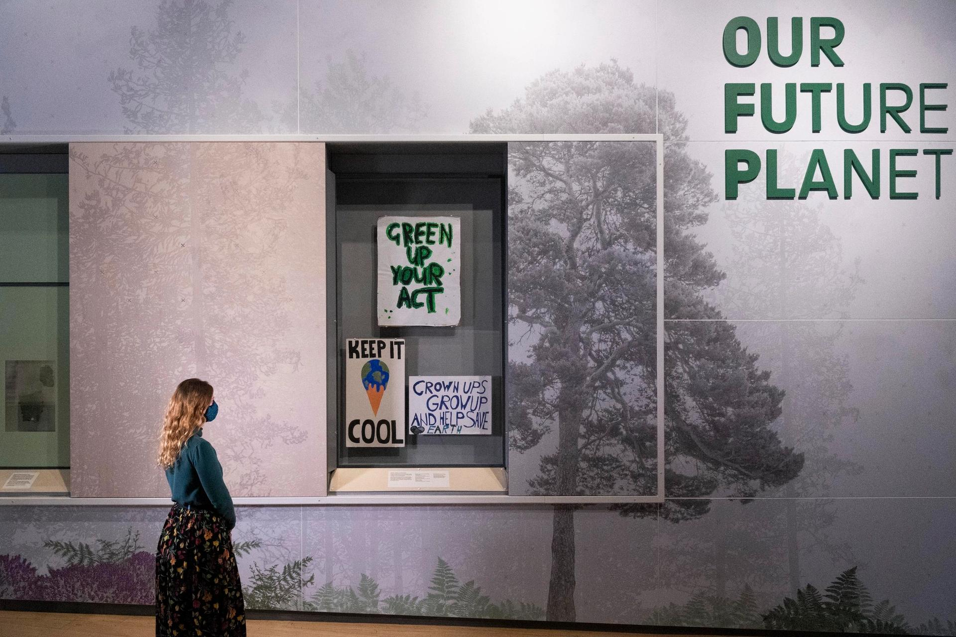 Signs used in climate change protests in 2019 are part of the Science Museum's exhibition © Science Museum Group