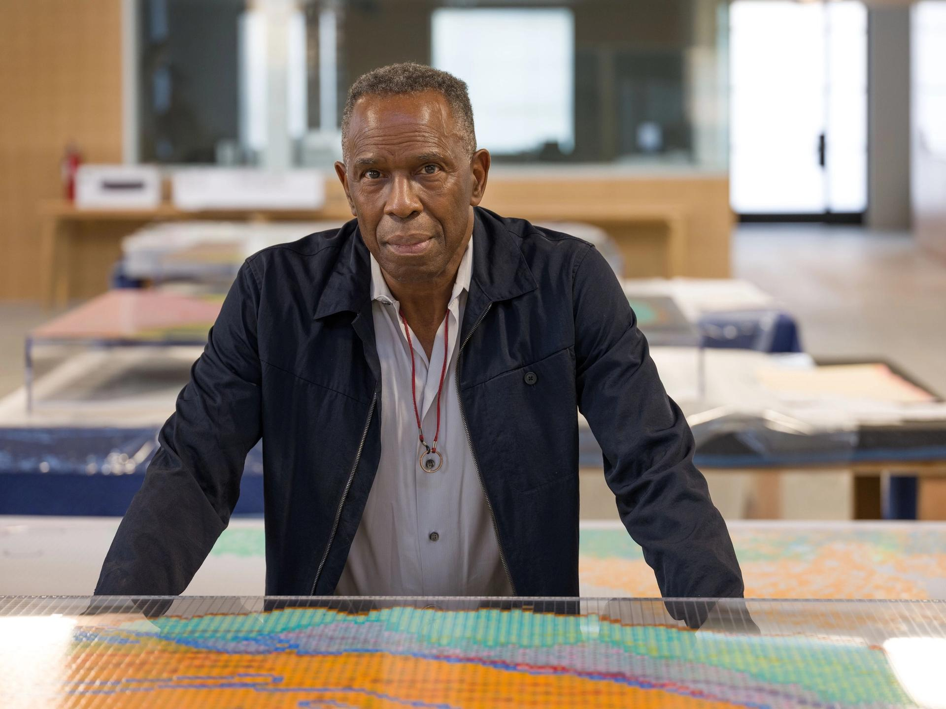 Charles Gaines in his Los Angeles studio, 2020 © Charles Gaines Courtesy the artist and Hauser & Wirth Photo: Fredrik Nilsen