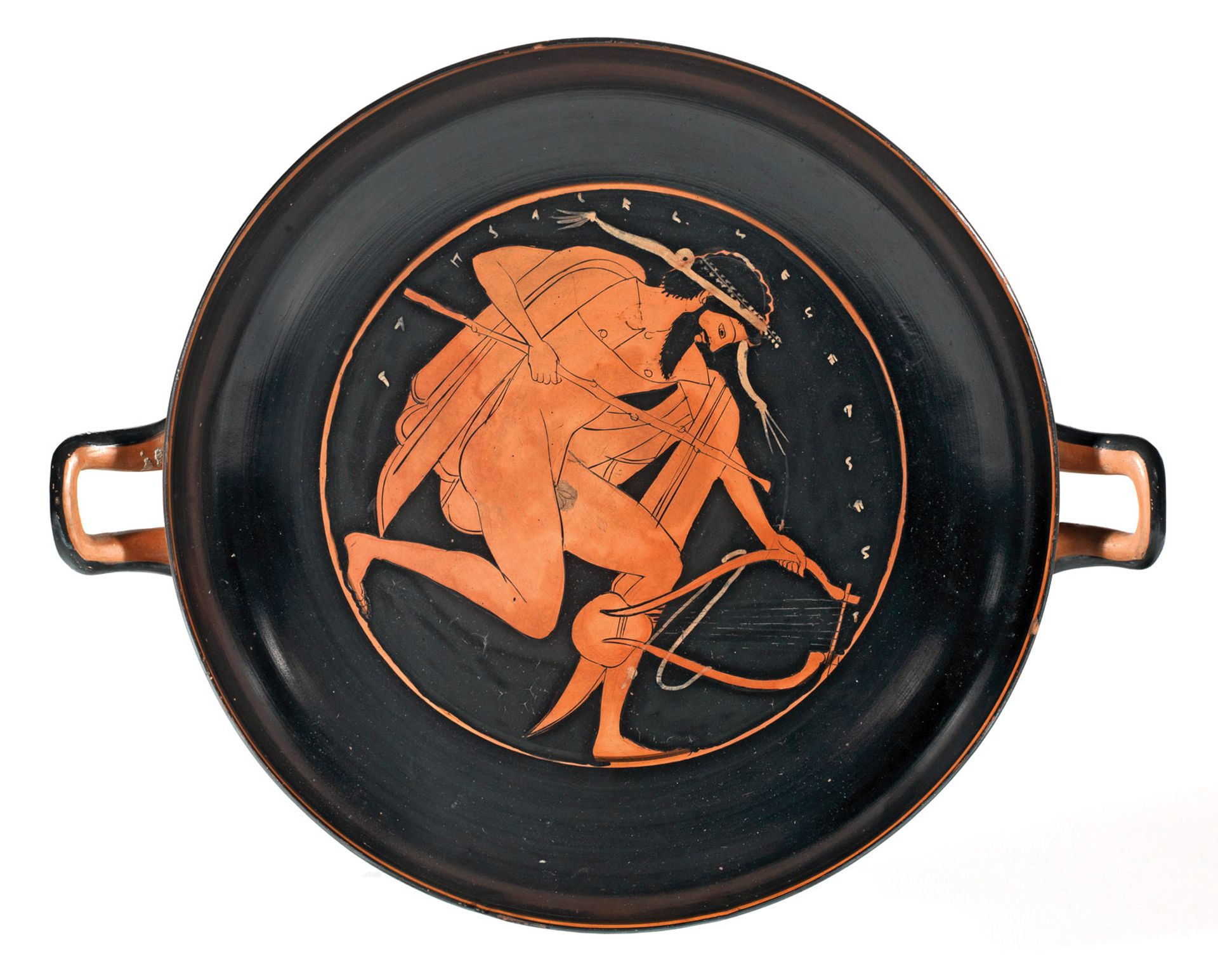 A man with a lyre and a staff (around 500 BC), attributed to the circle of the Nikosthenes Painter The Fitzwilliam Museum, Cambridge