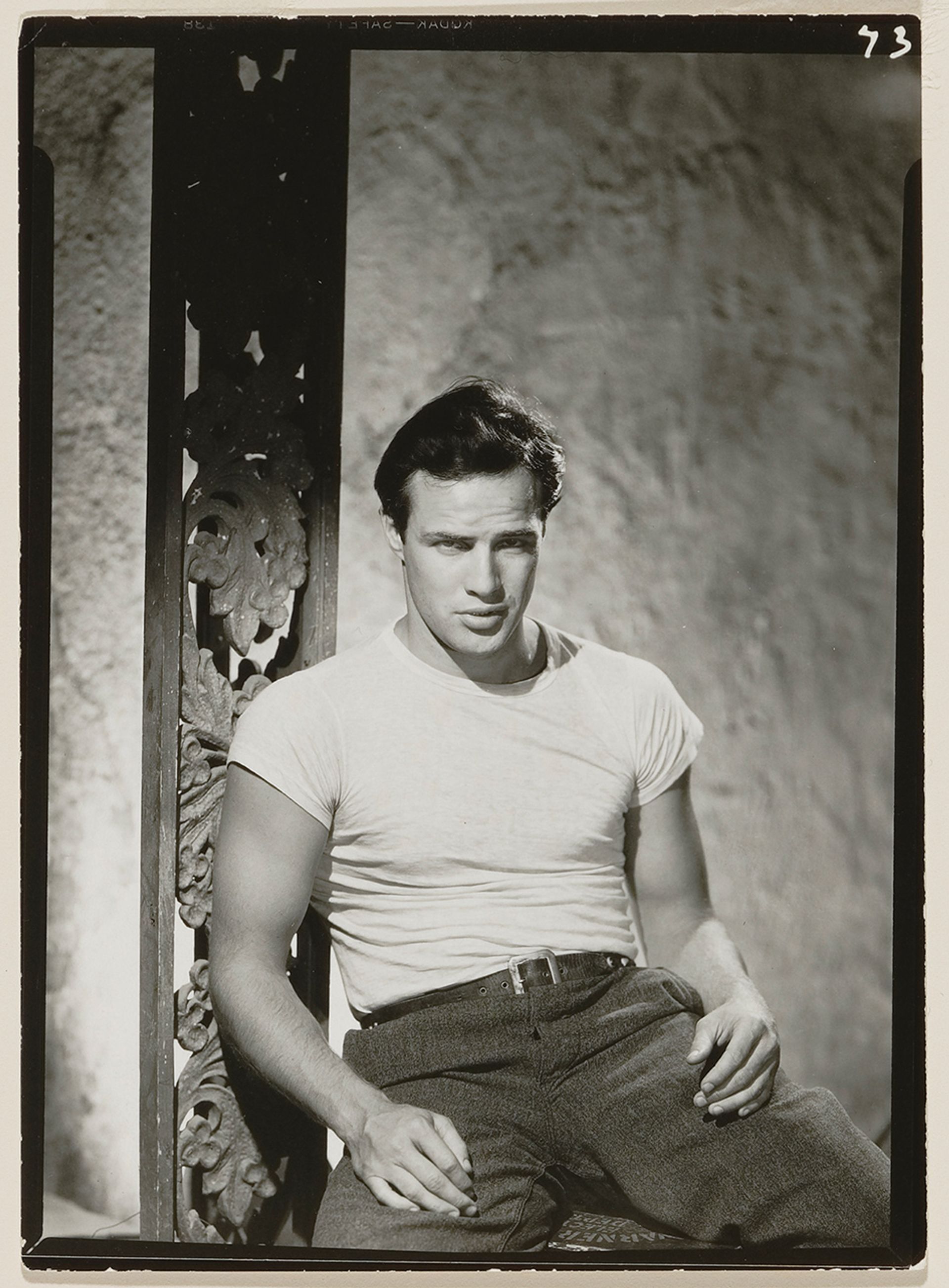 John Engstead's photograph of Marlon Brando in 1950 Photo by Jeffrey Nintzel of original by John Engstead