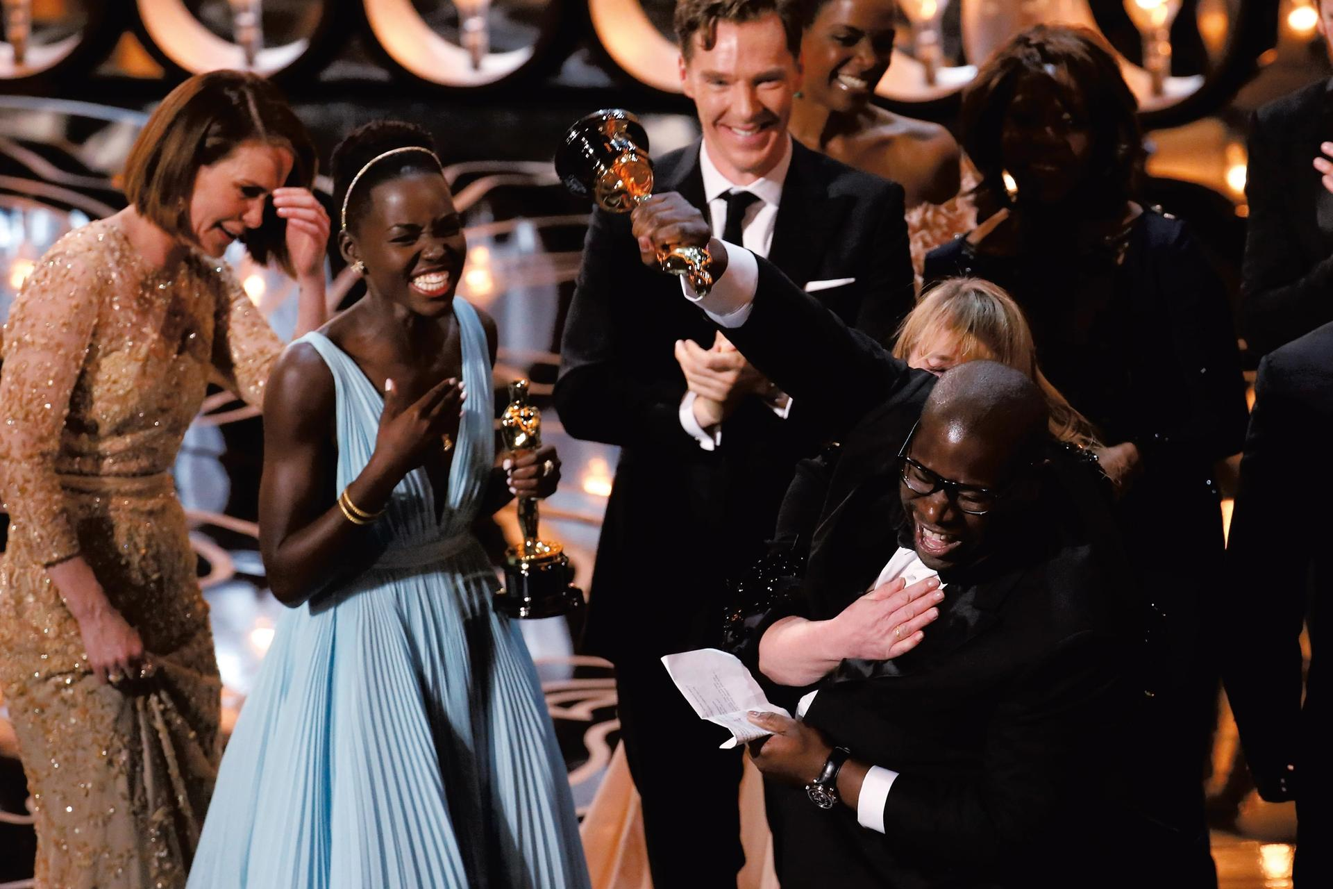 Steve McQueen receiving his Oscar for the 2013 film 12 Years a Slave Photo: © Los Angeles Times