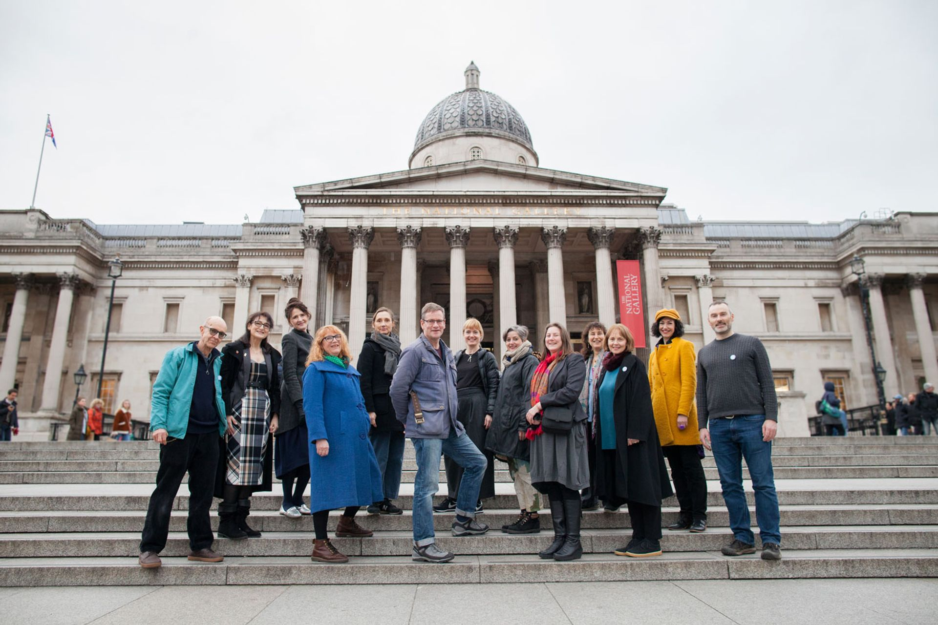 Members of the NG27 group of artists, art historians and lecturers outside the National Gallery in London © Jo Hone Photography