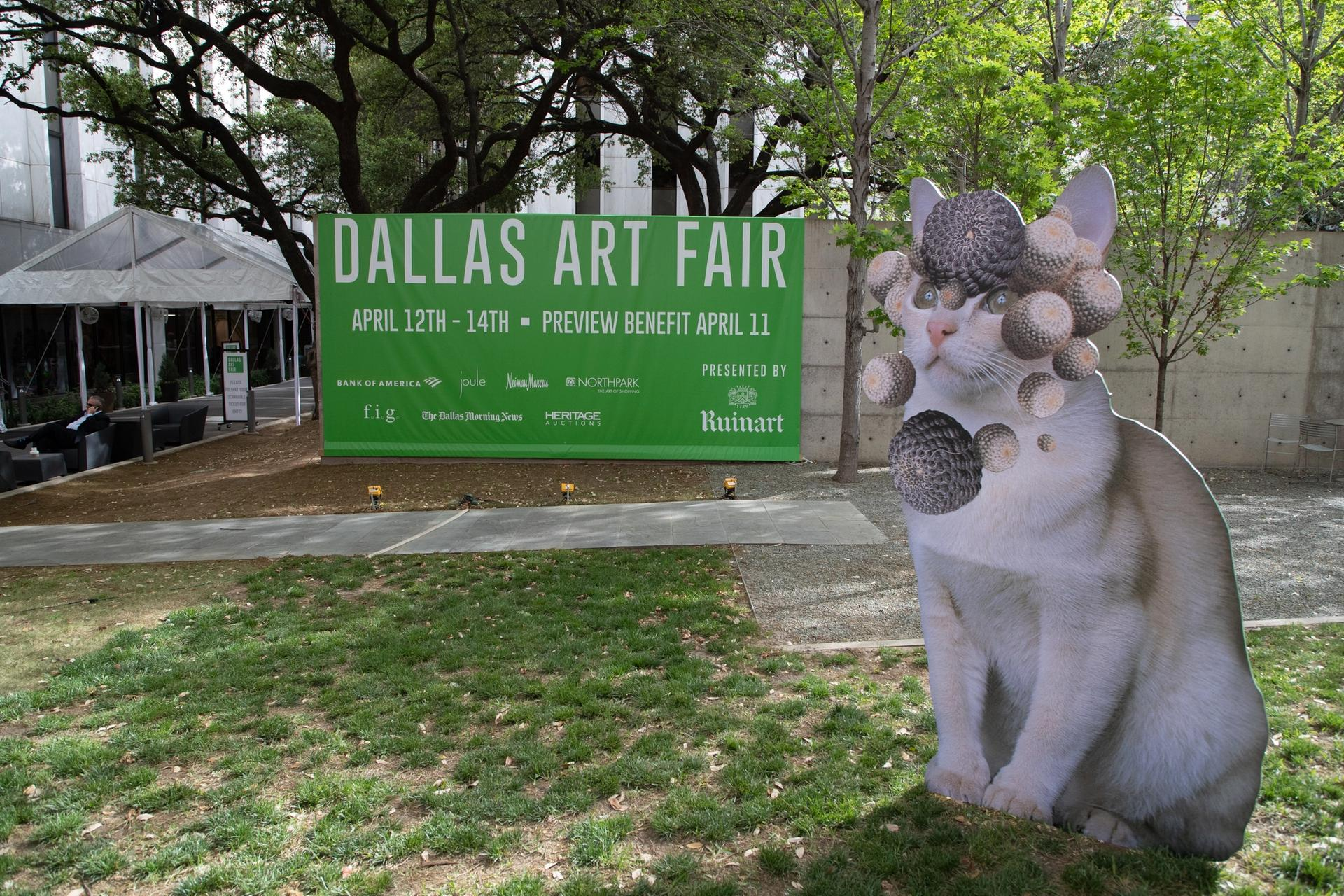 Chicago-based artist Stephen Eichorn's cat-and-plant sculptures greet visitors to the Dallas Art Fair. Photo by Exploredinary, courtesy of the Dallas Art Fair
