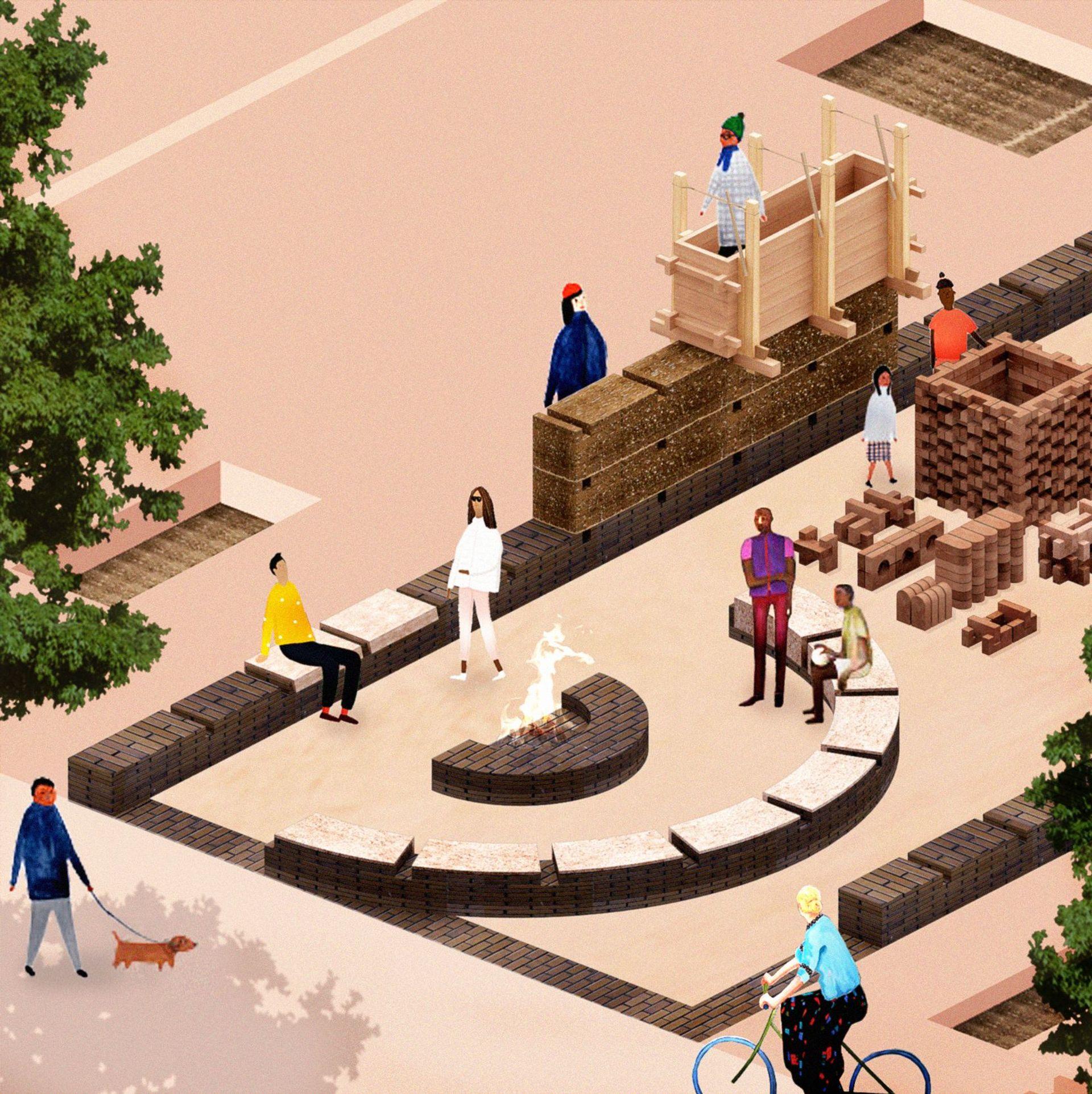 Soil Lab's design rendering for its Lawndale brick workshop Photo: Maria Bruun, Eibhlín Ní Chathasaigh, James Martin and Anne Dorthe Vester