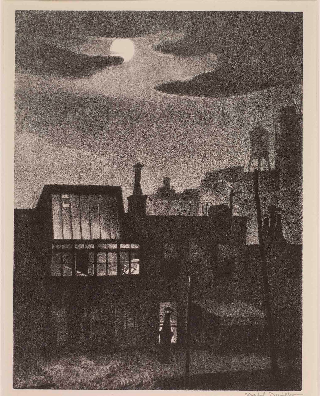 Mabel Dwight, Night Work (1931) Courtesy of the Huntington Library, Art Collections and Botanical Gardens