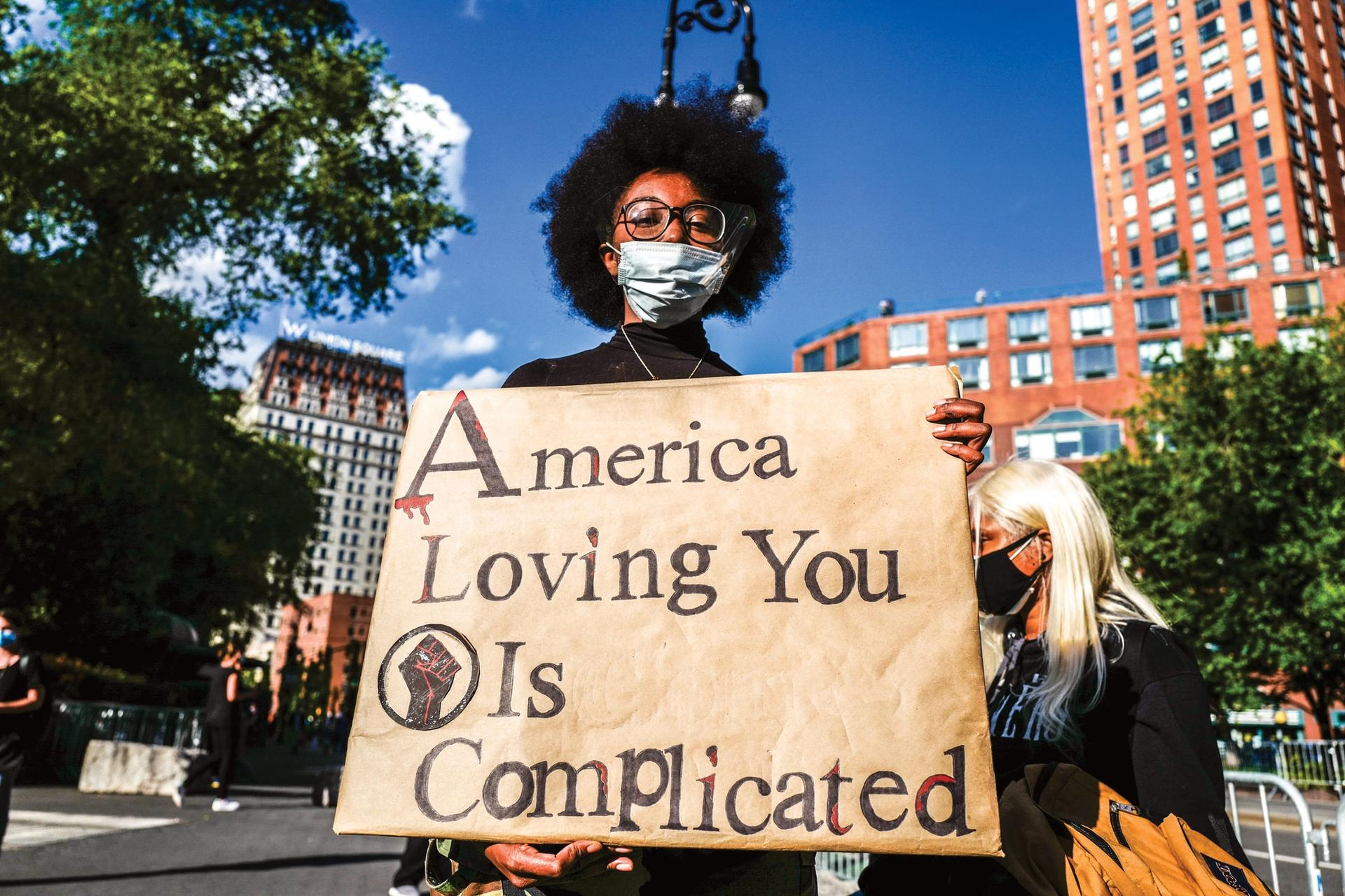 """A mask wearer in Union Square, New York, last June. Photographer Francesca Magnani observes that masks have come to assume """"multiple functions"""" beyond basic health protection © Francesca Magnani; courtesy of the National Museum of American History"""
