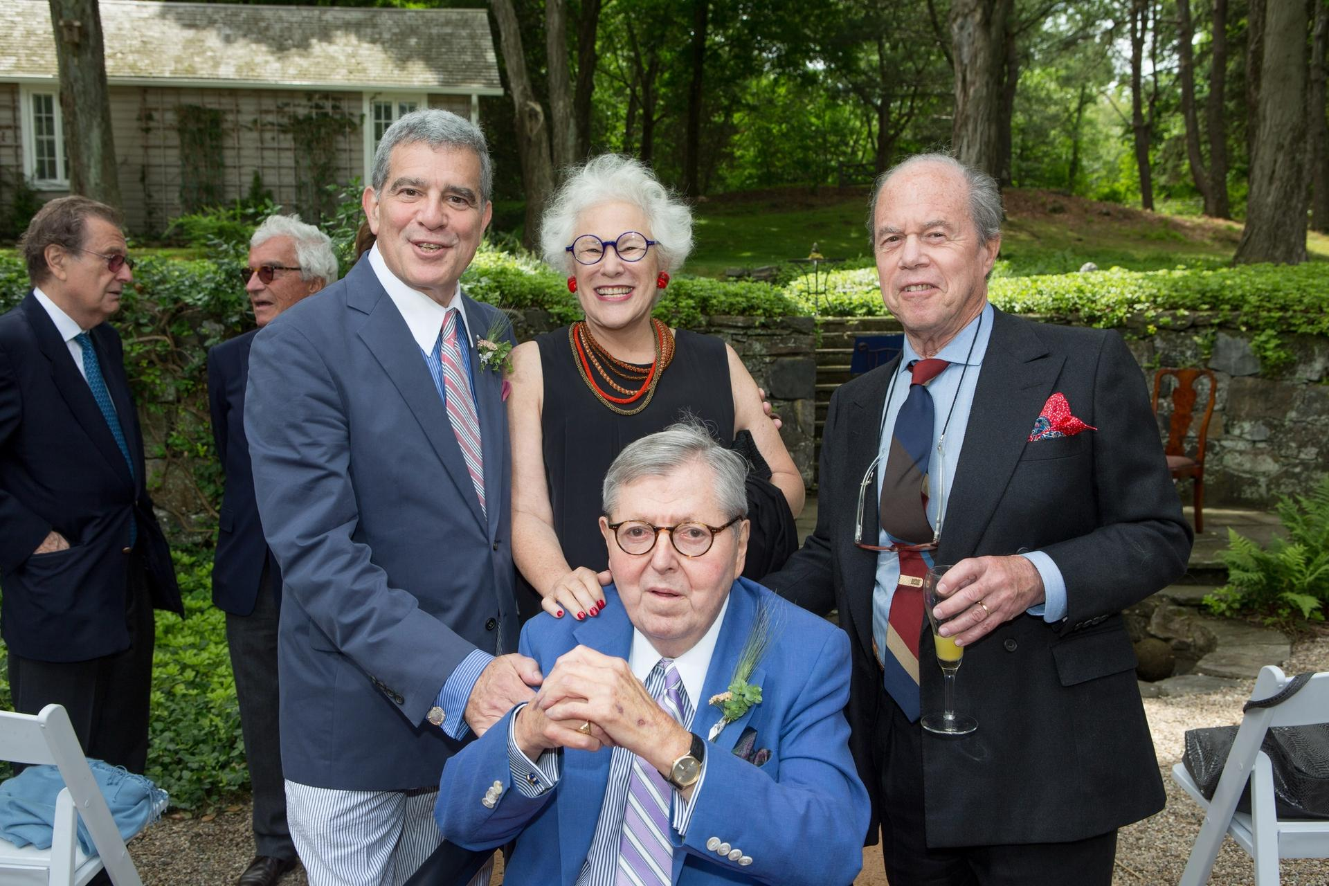 Seated,  the late Charles Bergman, who headed the Pollock-Krasner Foundation as chairman and chief executive. Behind him, from left: his husband, Stuart Levy; Janet Spencer; and her husband, Ronald Spencer, who took over as the foundation's chairman and chief executive this year Joseph Fornabaio