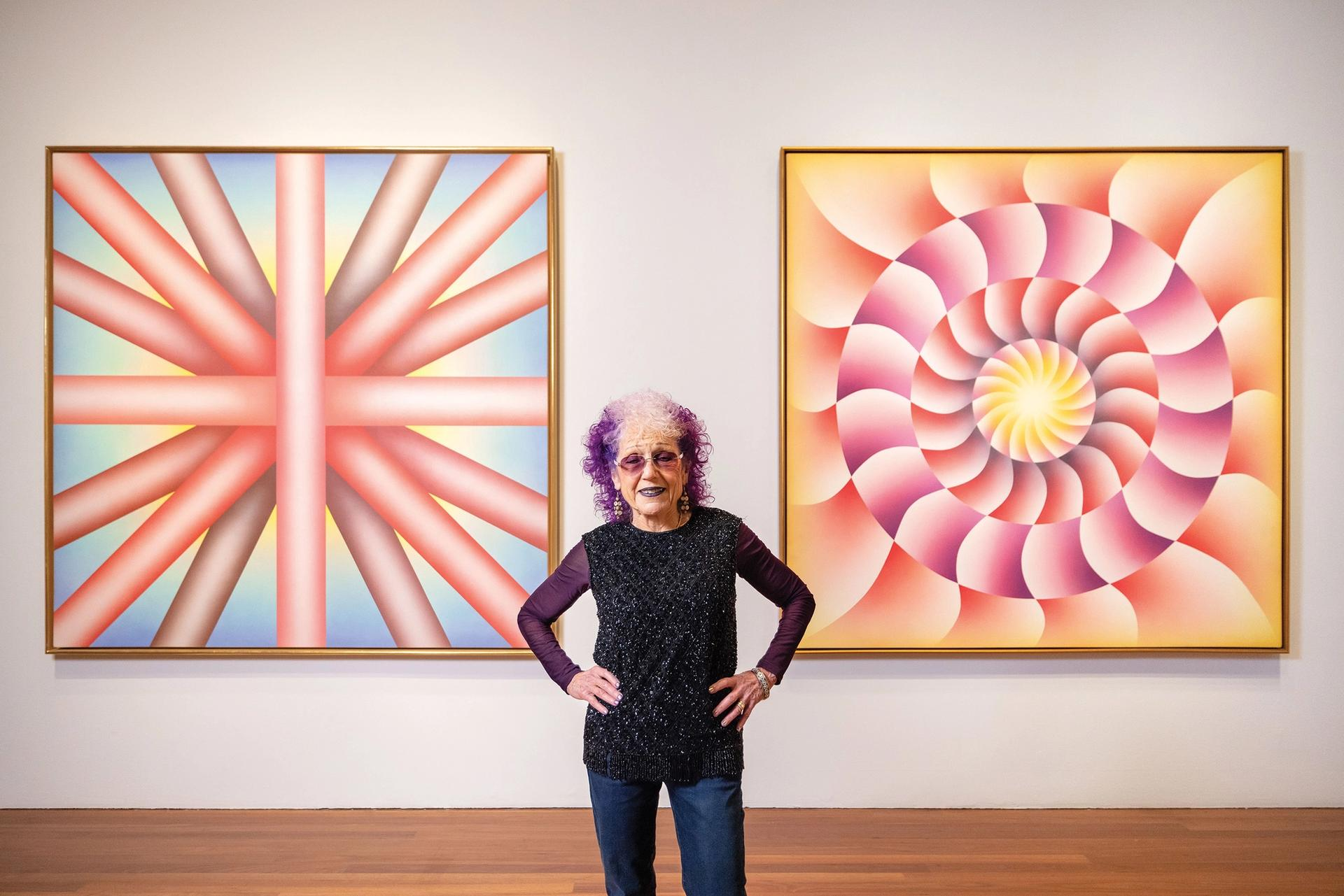 Judy Chicago at her retrospective at the de Young Museum  Photo: Gary Sexton; Judy Chicago/Artists Rights Society (ARS), New York/DACS 2021