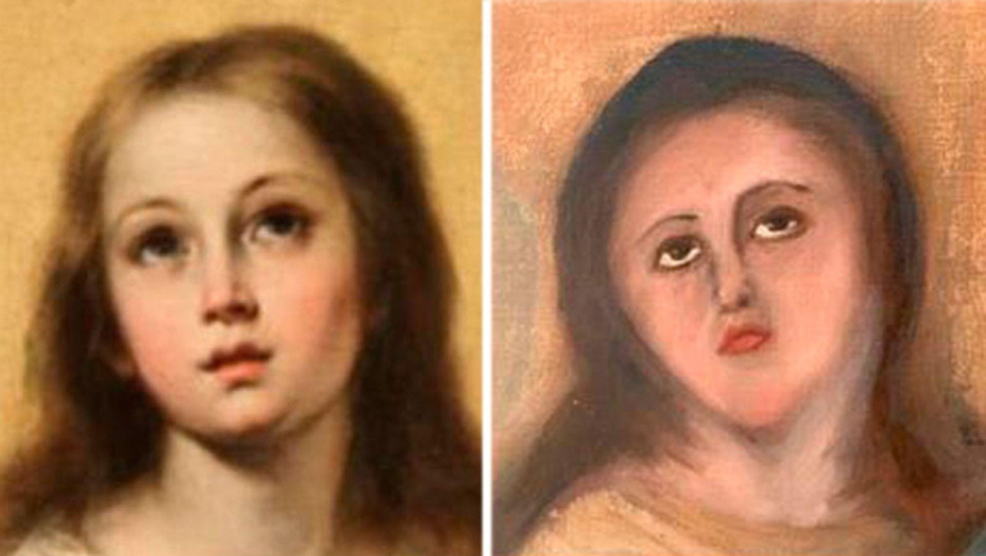 Bartolomé Esteban Murillo's original work (left) and one of the restoration attempts Photo: Cedida/Europa Press