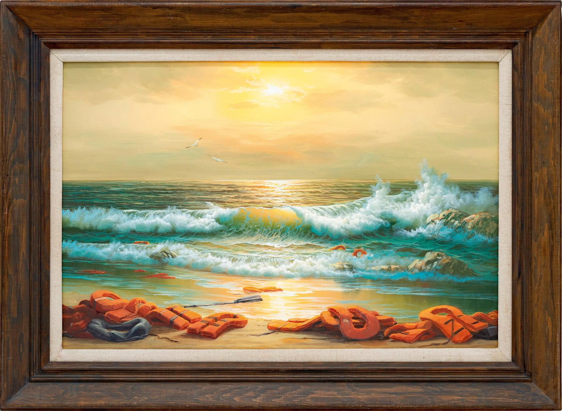 Banksy's Mediterranean sea view 2017, one painting in the triptych that is estimated to sell for £800,000-£1.2m Courtesy of Sotheby's
