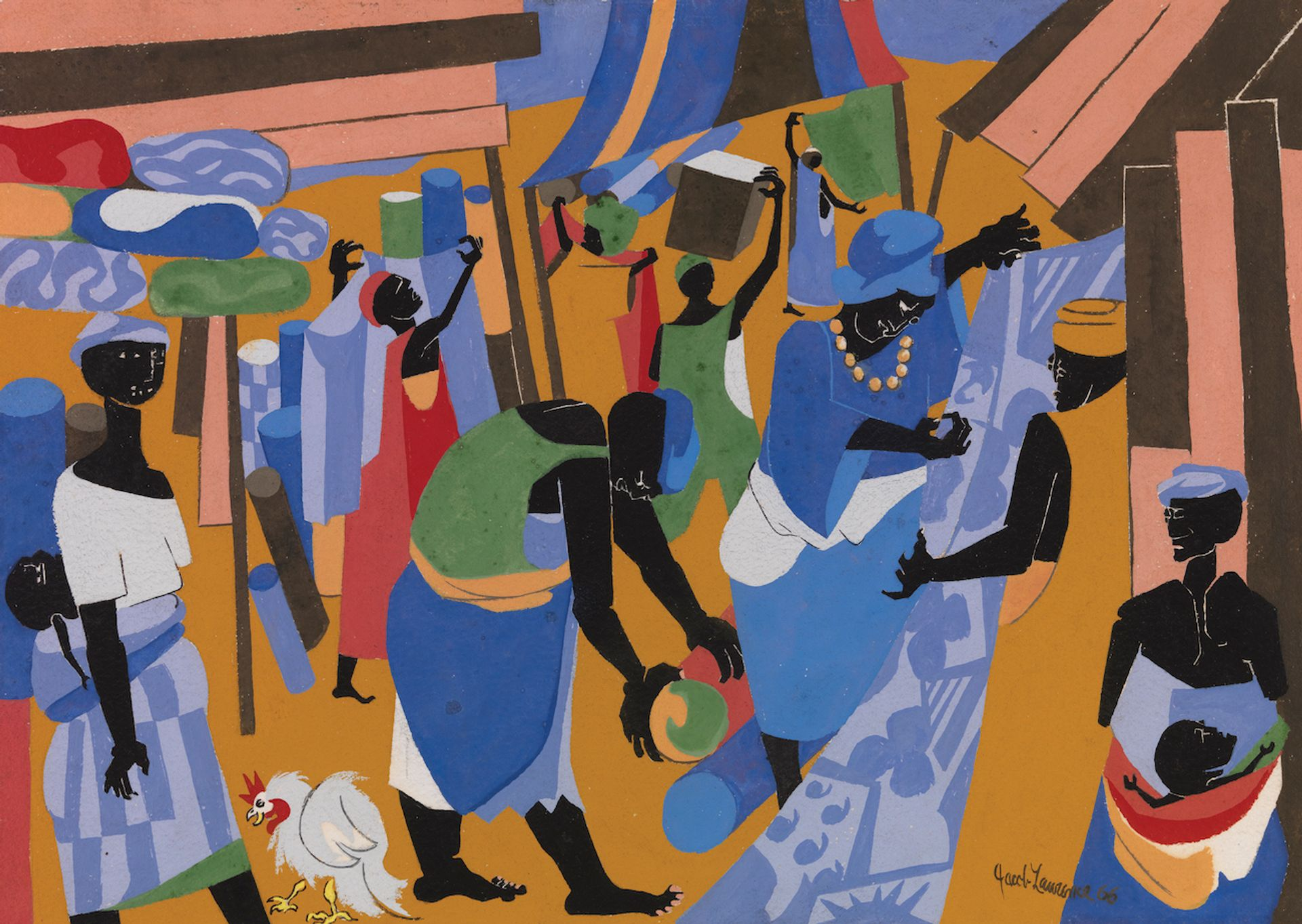 Jacob Lawrence, Market Scene (2021) The Jacob and Gwendolyn Knight Lawrence Foundation, Seattle / Artists Rights Society (ARS) New York