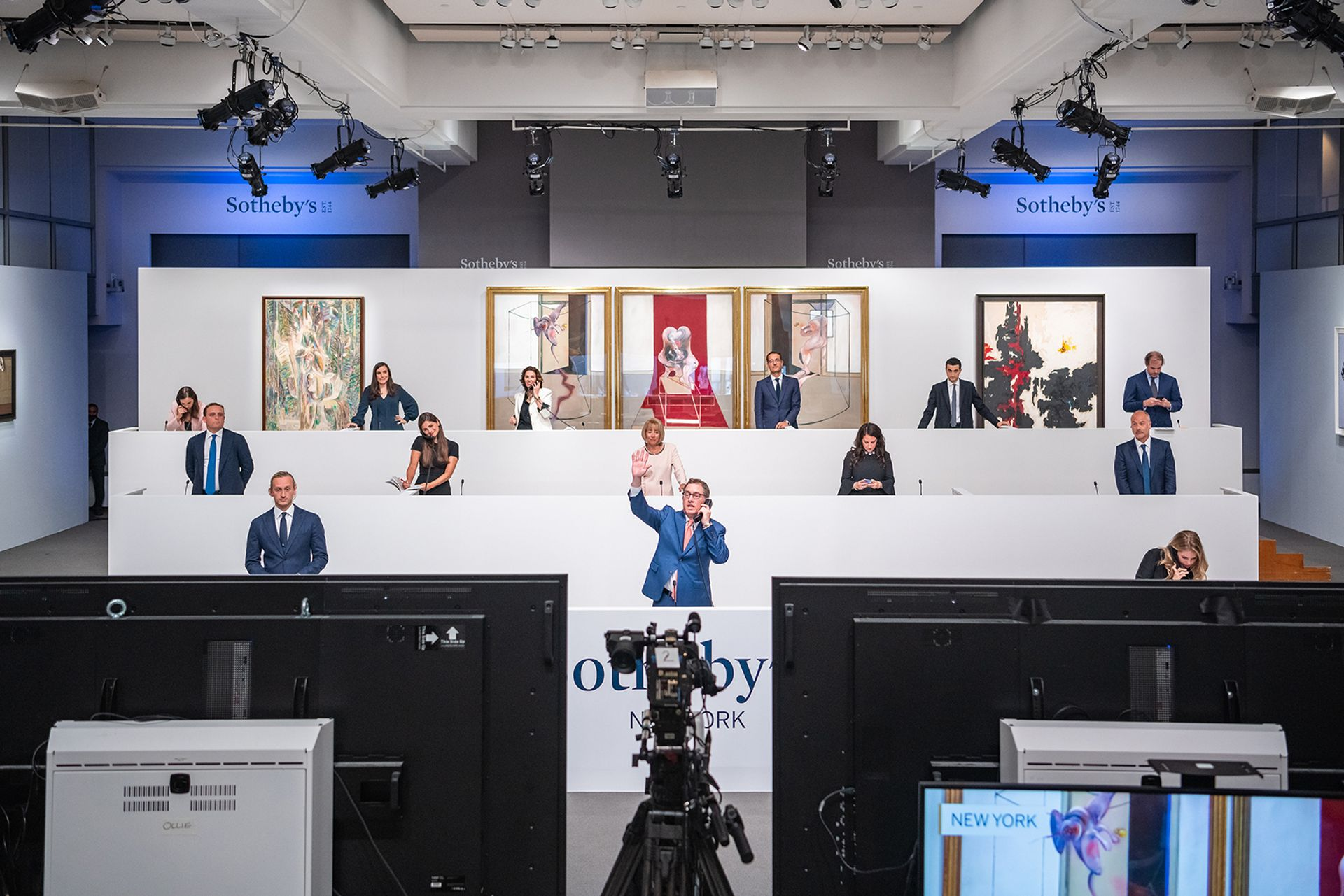 Specialists bidding in New York during Sotheby's Contemporary evening sale in June © Julian Cassady Photography LTD