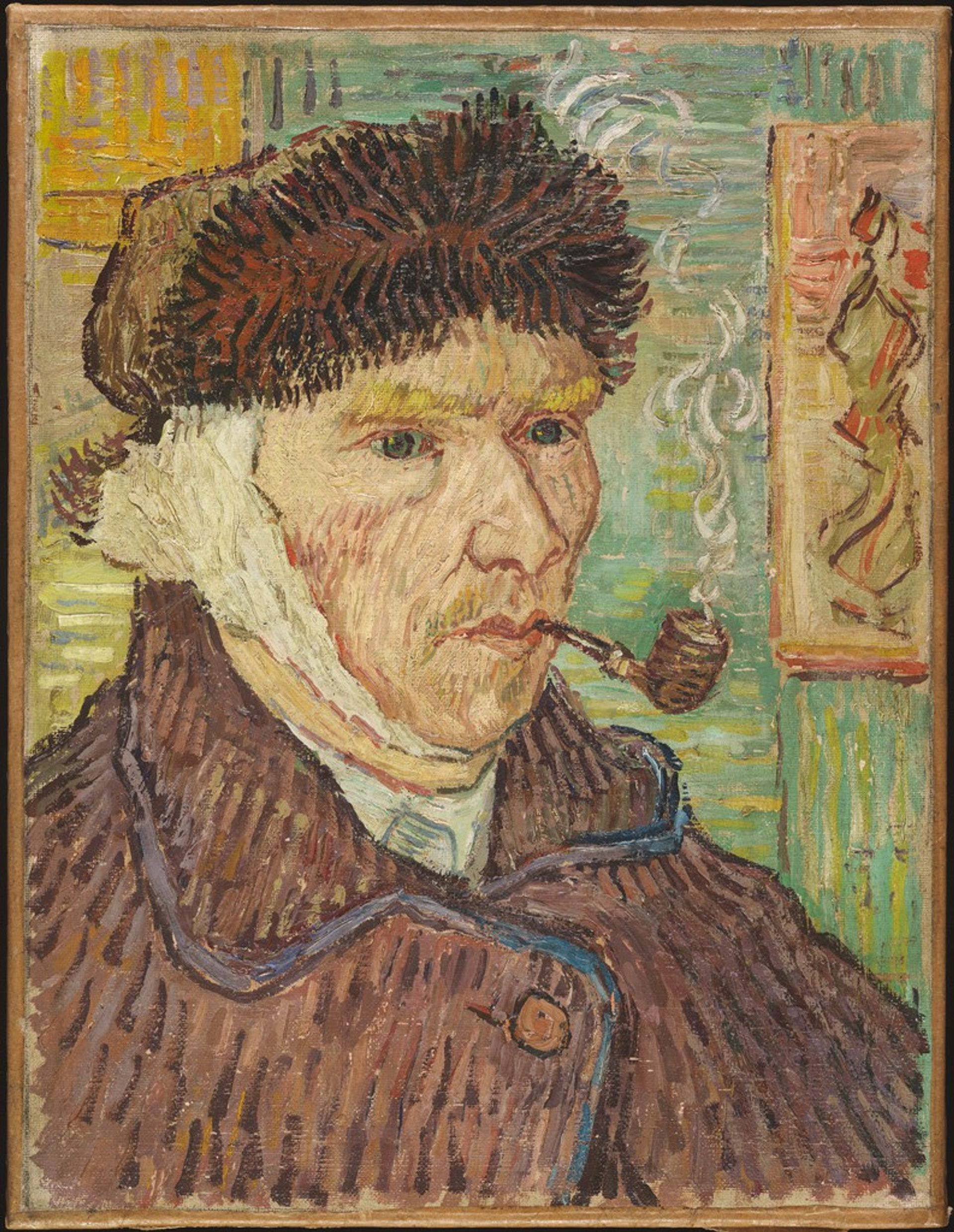 Self-portrait with a Bandaged Ear and Pipe, previously attributed to Vincent van Gogh, was a fake sold by the dealer Otto Wacker Harvard Art Museums/Fogg Museum, Bequest of Annie Swan Coburn