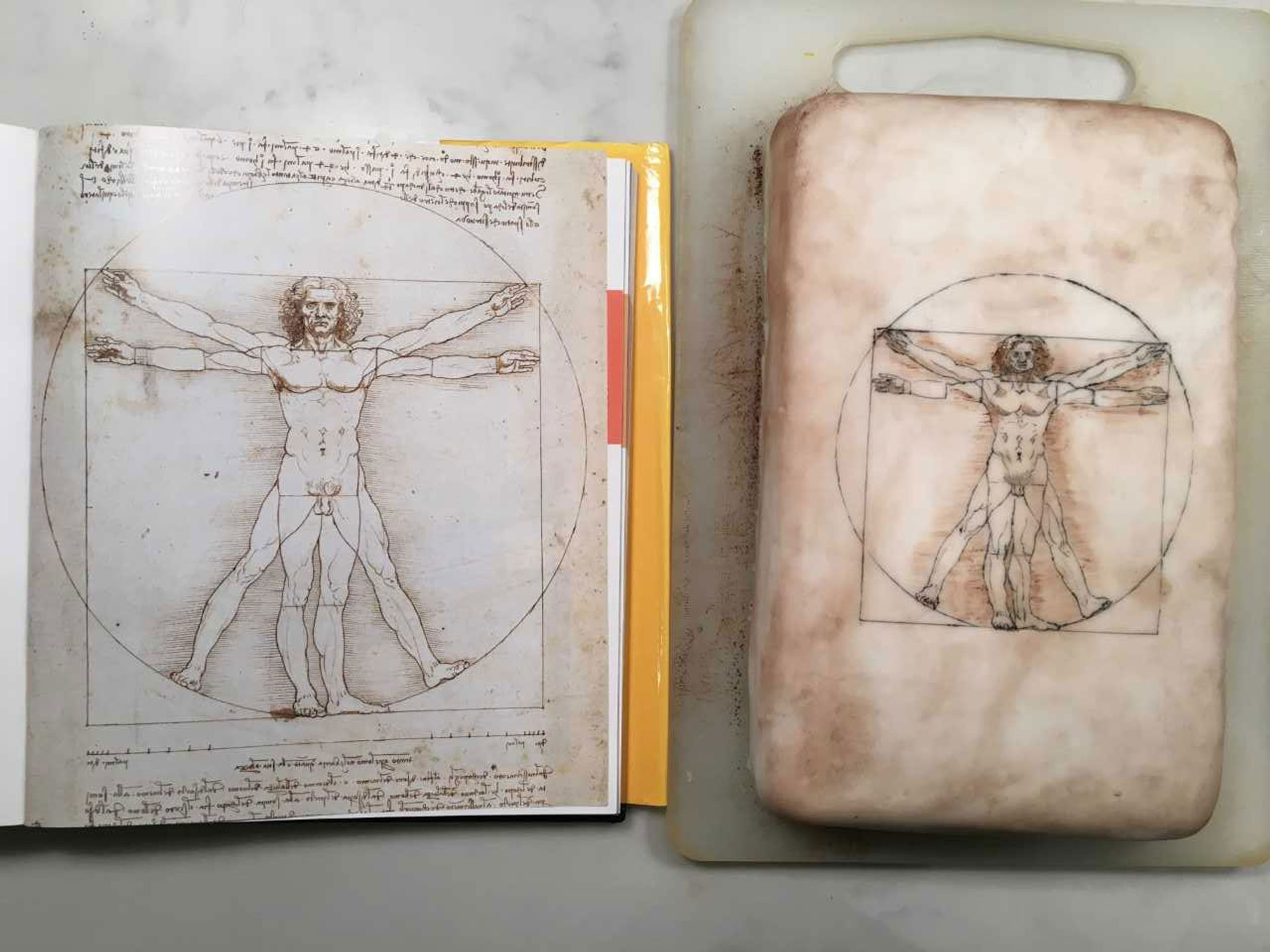 Sophie (tweeted to #ArtBakeOff by her husband Andrew Shore) has recreated Da Vinci's 'Vetruvian Man' in cake form The artist