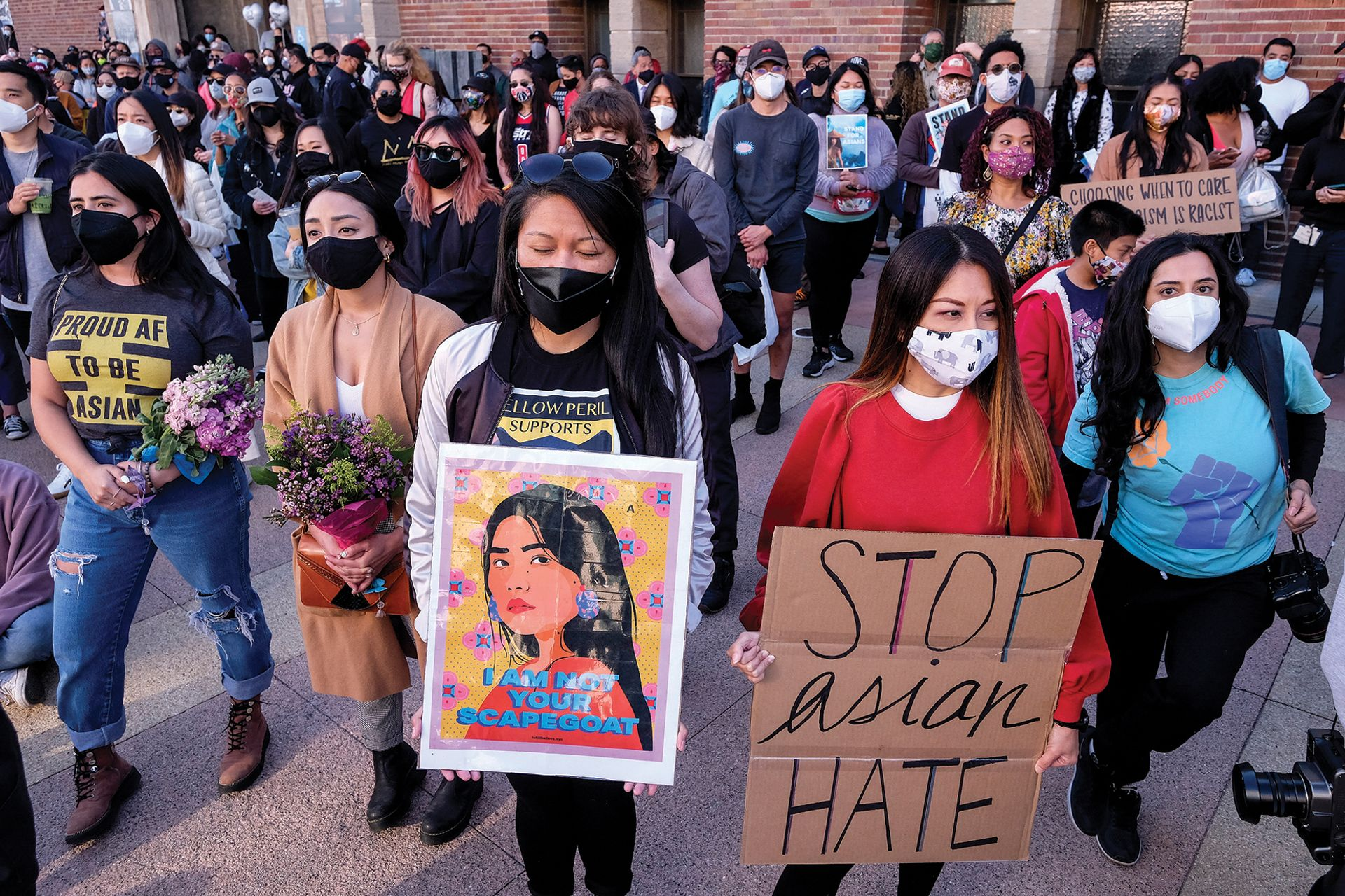 Demonstrators take part in a rally to raise awareness of anti-Asian violence at the Japanese American National Museum in Little Tokyo in Los Angeles, California, on 13 March Photo: Ringo Chiu/AFP via Getty Images