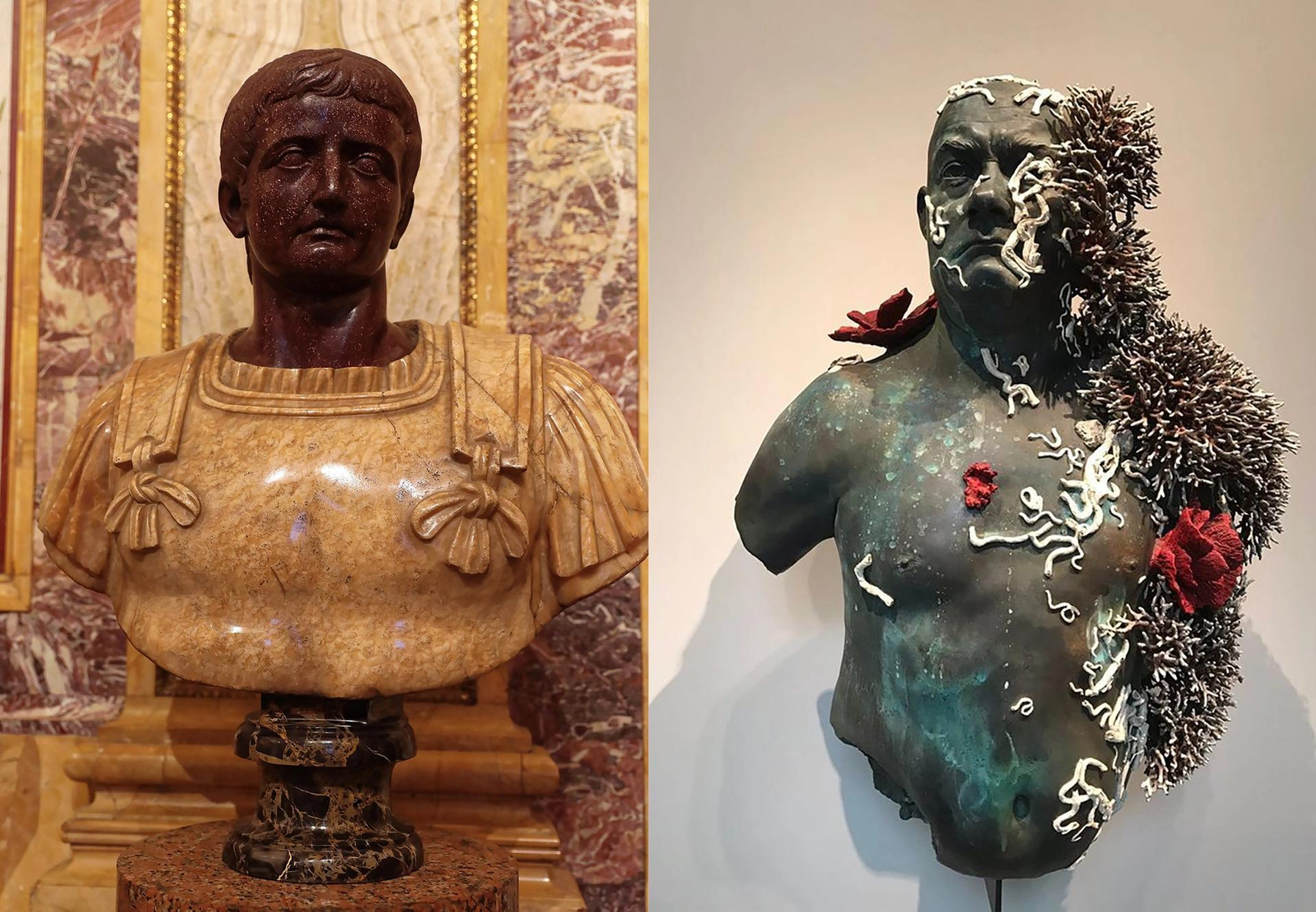"""Damien Hirst's """"shipwreck"""" pieces (right) will be shown alongside the Galleria Borghese's permanent collection (left)"""