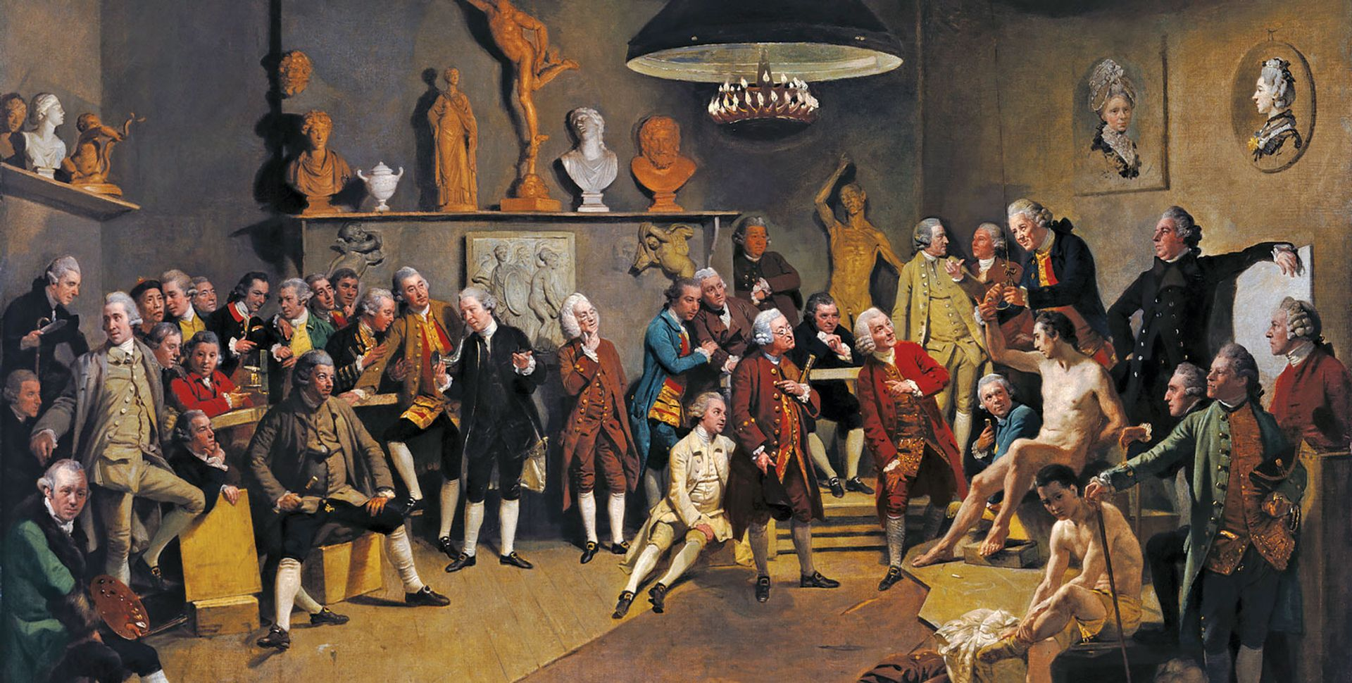 Zoffany's painting depicts the RA's 34 founders taking a life class, but the two female members are present only as portraits on the wall The Royal Collection, London