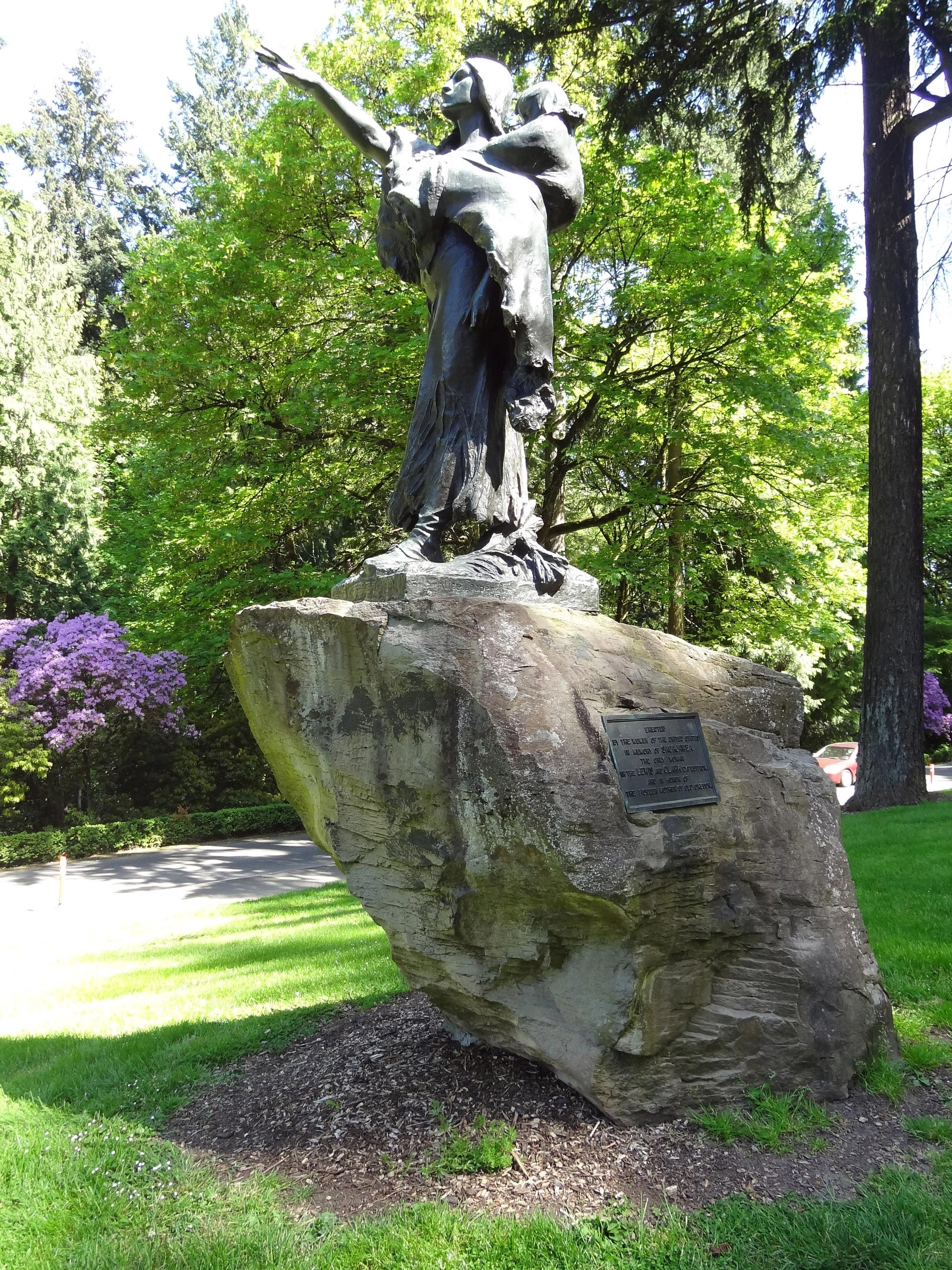 The Sacajawea and Jean-Baptiste sculpture in Washington Park, Portland was funded by women, sculpted by a woman artist, and conceived to promote women's suffrage. And yet the monument to the Lemhi Shoshone guide tells a conveniently limited version of her story Photo: Simon Cobb