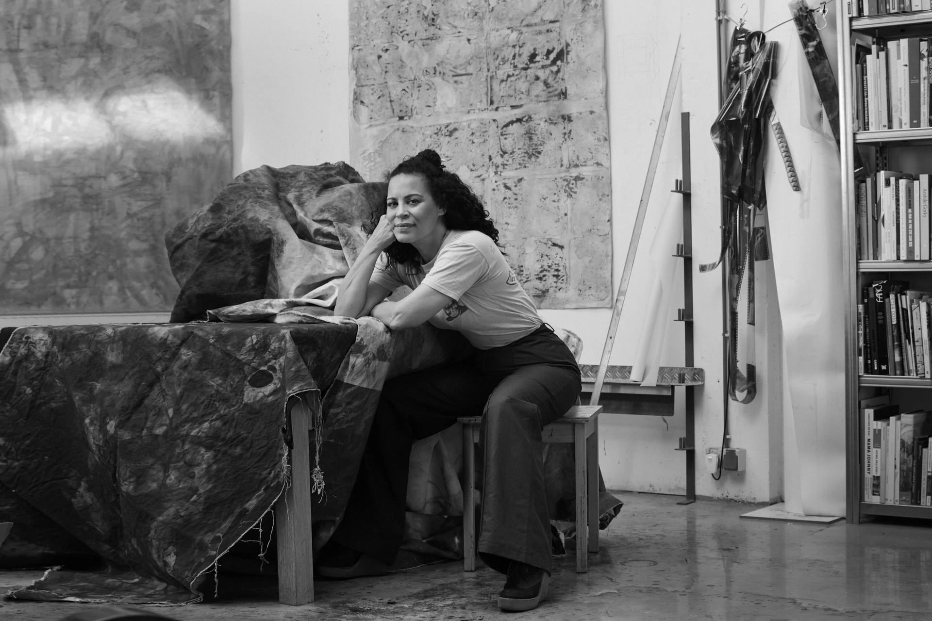 Ellen Gallagher Ellen Gallagher in her Rotterdam studio Photo: Philippe Vogelenzang Courtesy the artist and Hauser & Wirth
