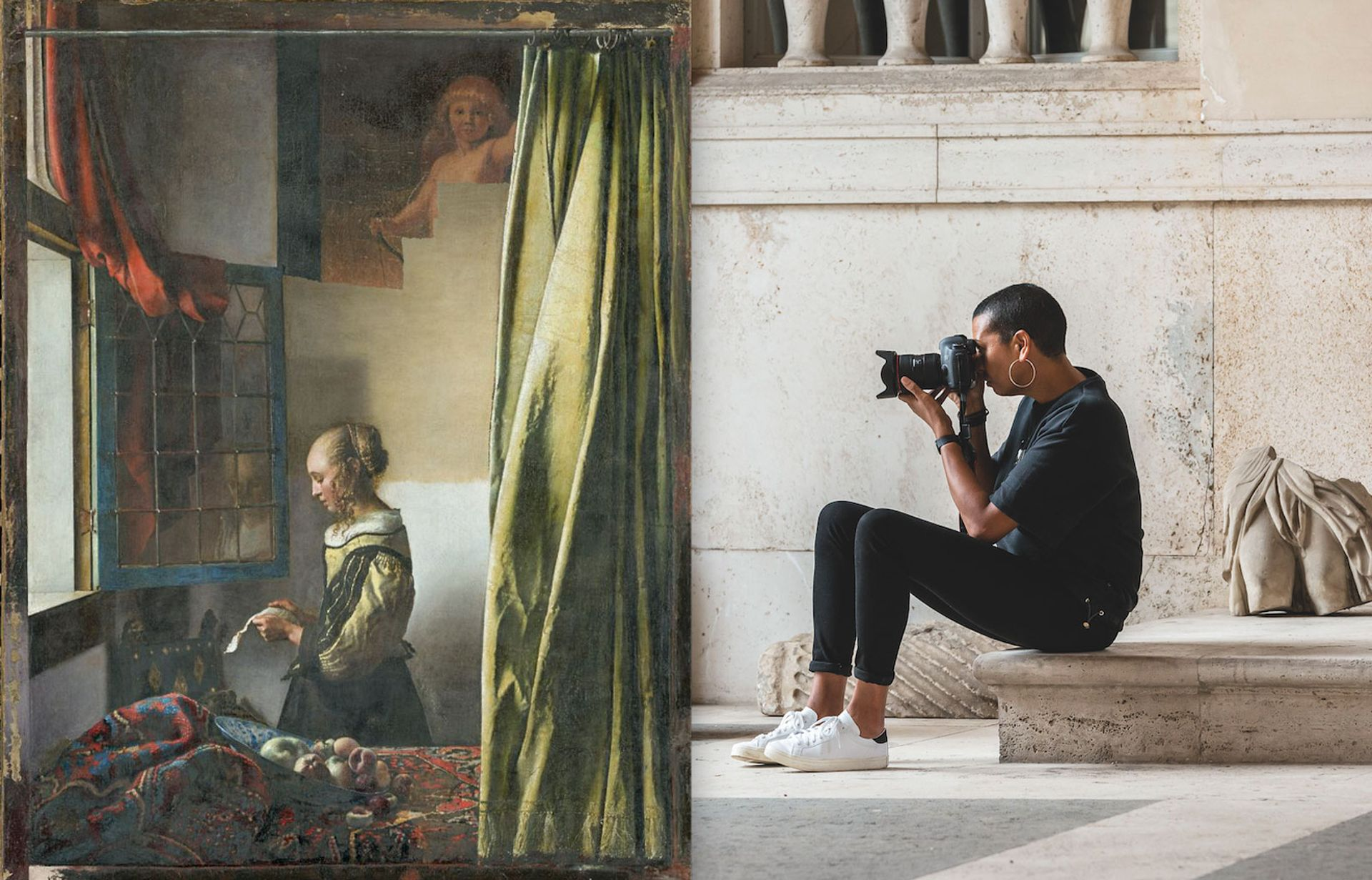 Johannes Vermeer's Girl Reading a Letter at an Open Window  (1657-59) with the partially revealed Cupid. And the Turner Prize-nominated Helen Cammock © Vermeer: Wolfgang Kreische. Cammock: Photo © Sebastiano Luciano