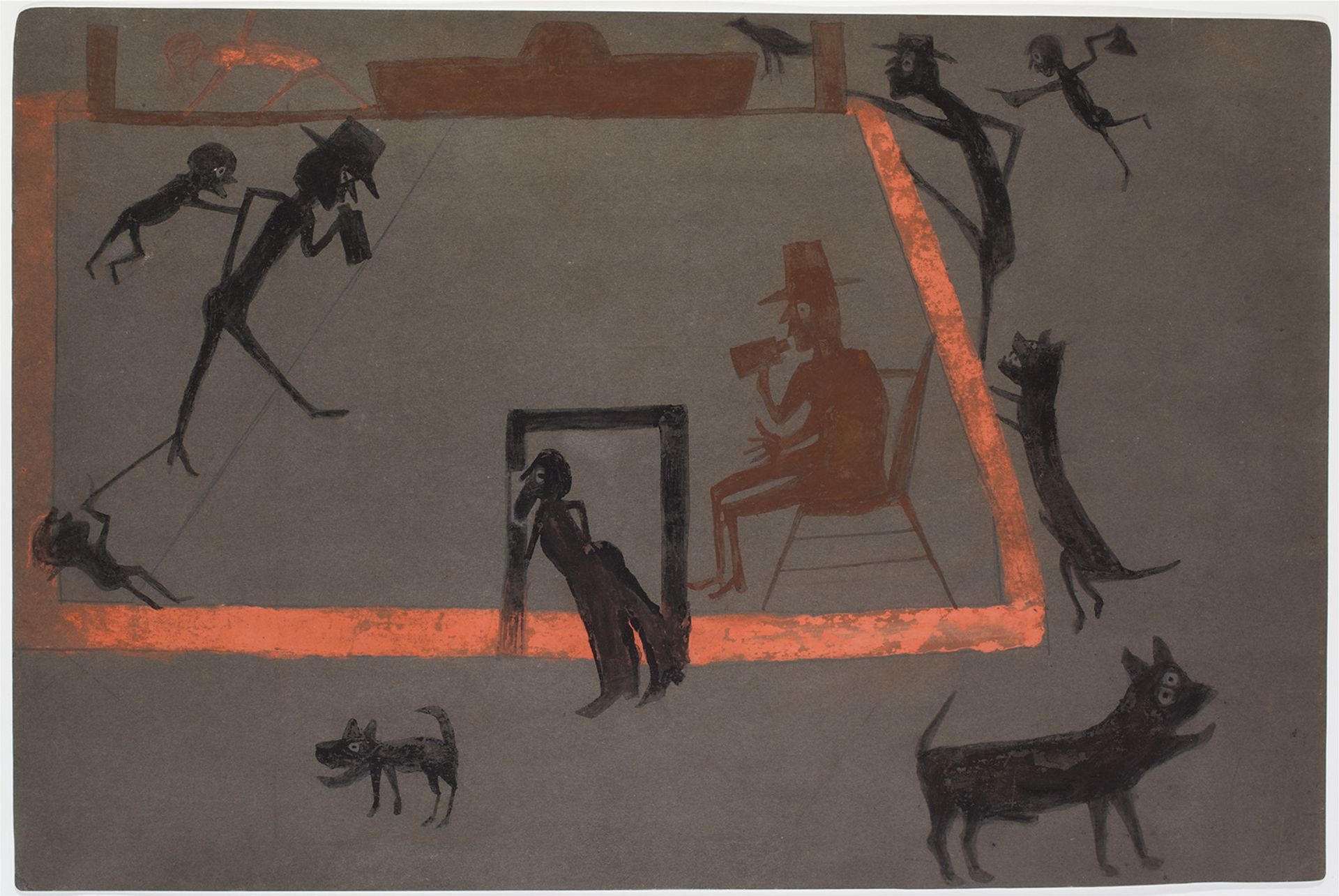Bill Traylor, Men Drinking, Boys Tormenting, Dogs Barking, (around 1939-1942) Collection of Jill and Sheldon Bonovitz, Promised Gift to the Philadelphia Museum of Art
