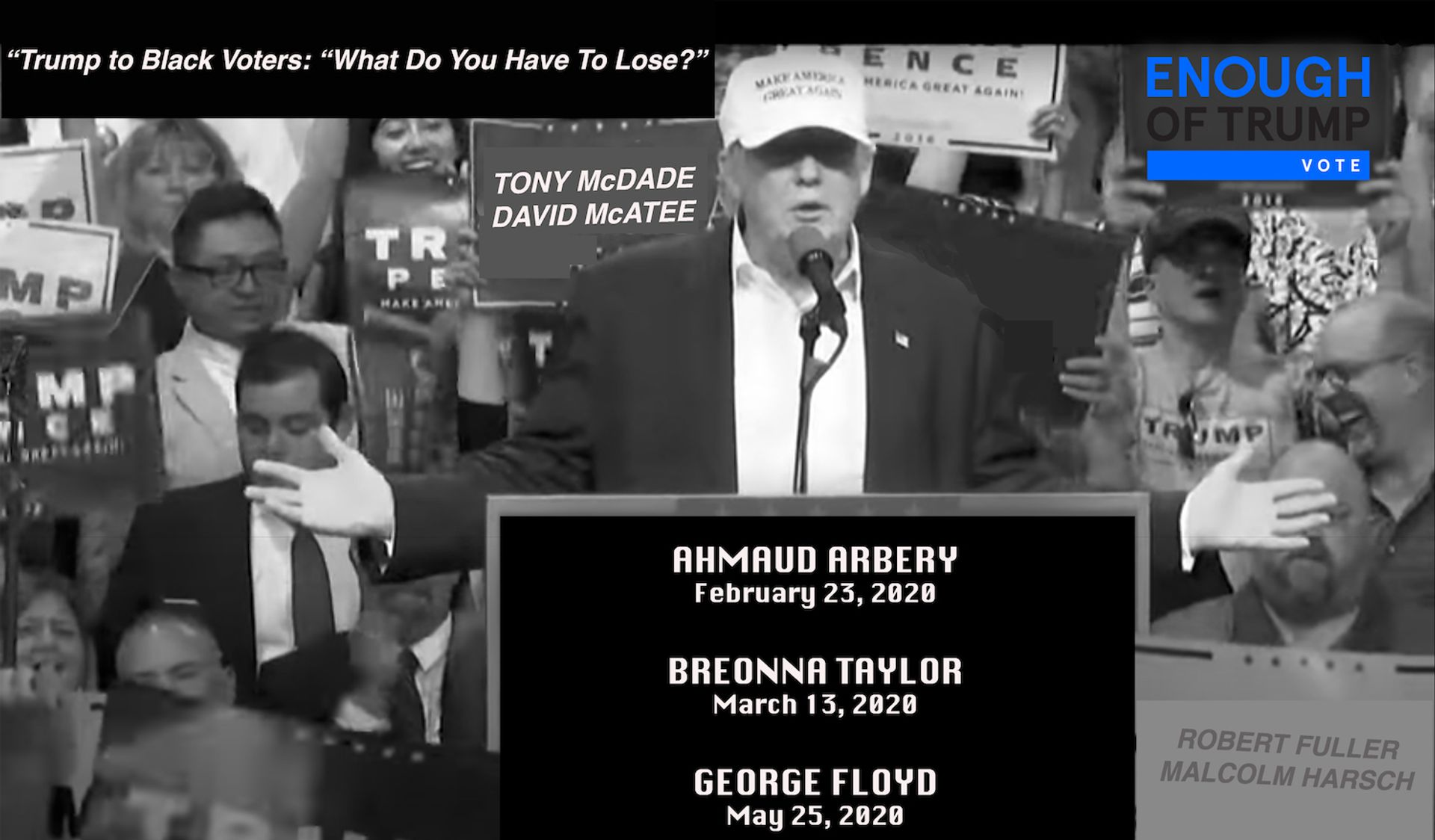 A work by LaToya Ruby Frazier in the Enough of Trump campaign People for the American Way