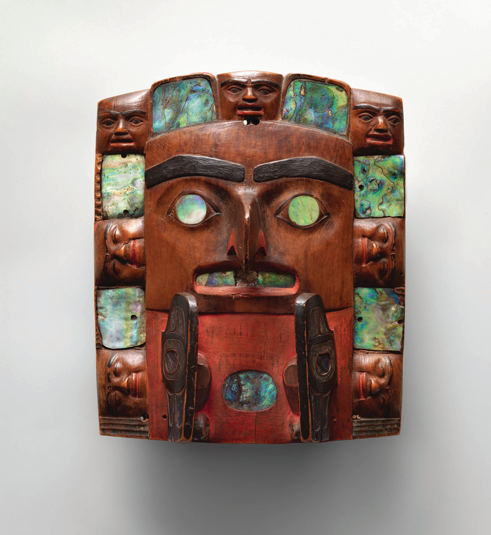 This headdress frontlet from British Columbia made by a Tsimshian artist (around 1820–40) is part of the Mets show © The Metropolitan Museum of Art. Photo: Bruce Schwarz