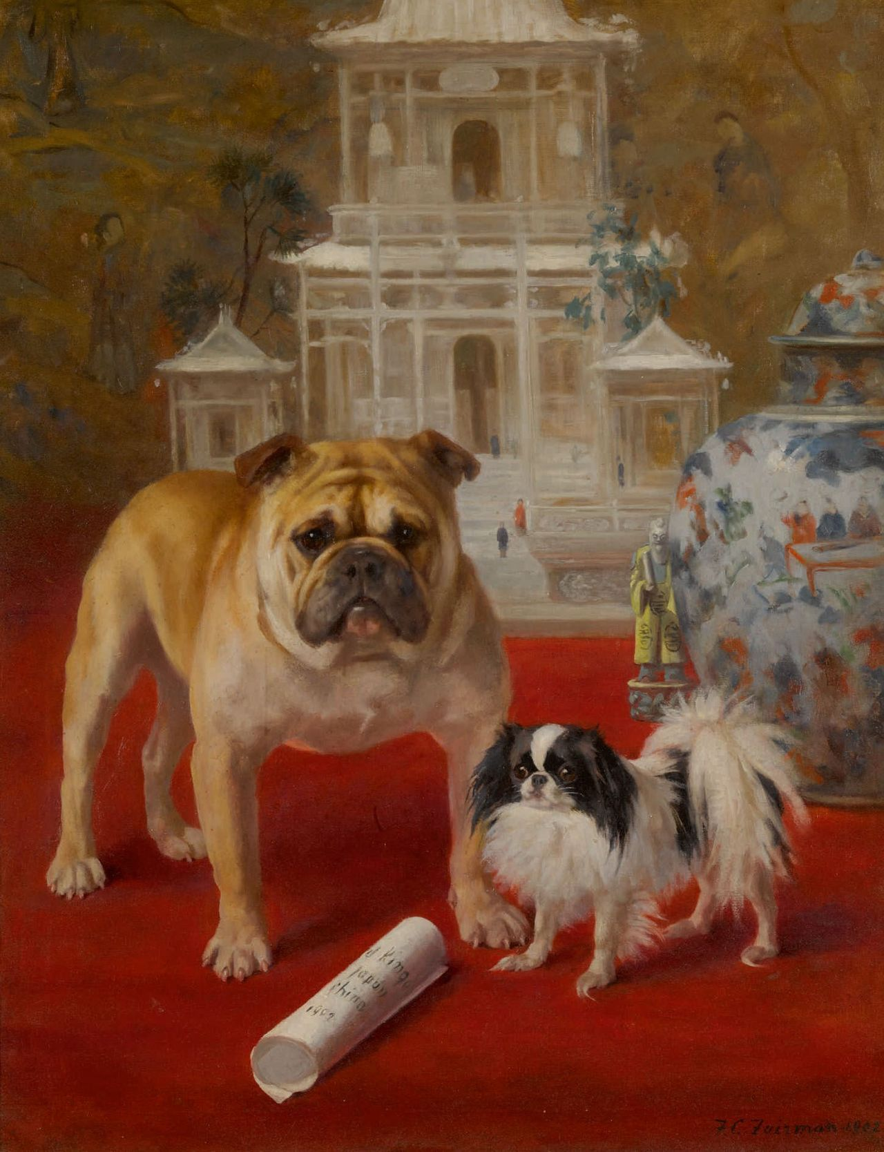 Top dog: Frances C. Fairman's  The Boxer Rebellion  (1902)  sold for $50,000 at Sotheby's