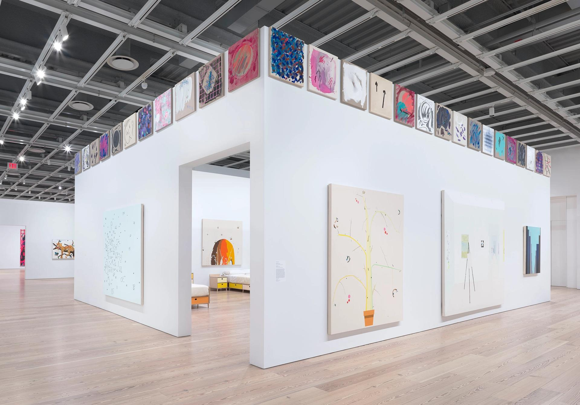 Installation view of Laura Owens at the Whitney Museum of American Art, New York Photo: Ron Amstutz