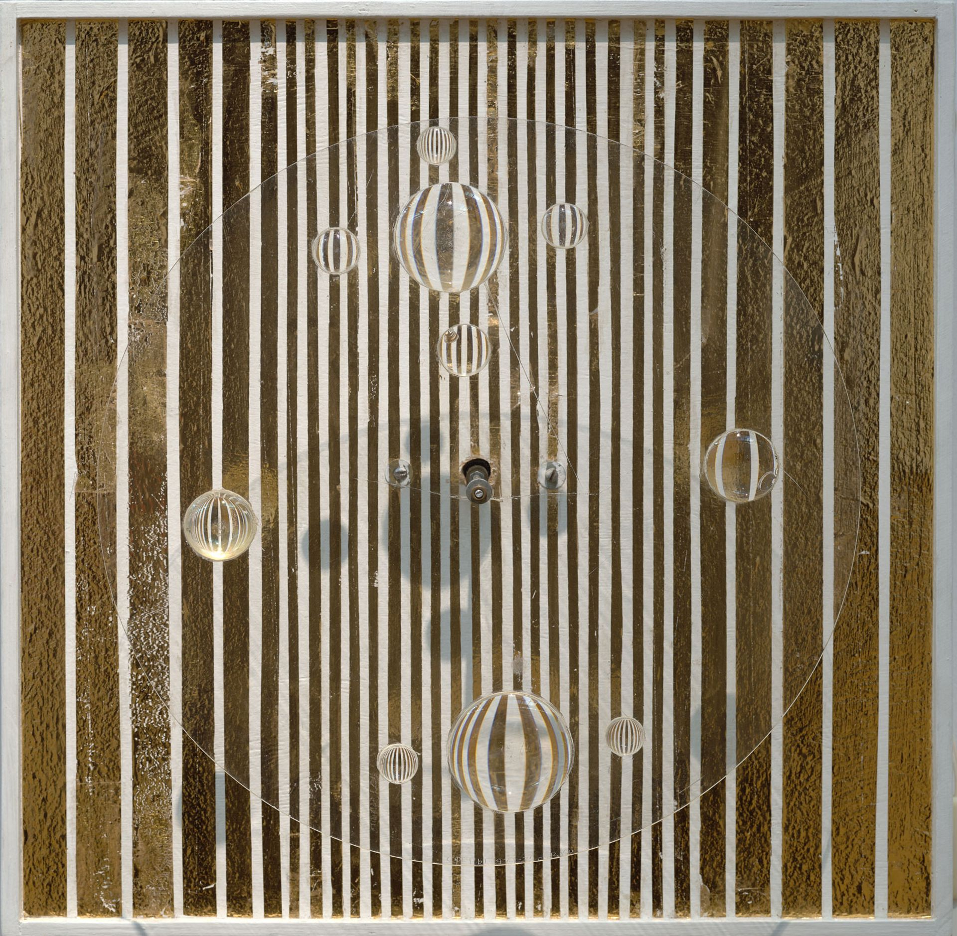 A 1972 work by Viacheslav Koleichuk made using plywood, plexiglass, lenses and a small motor