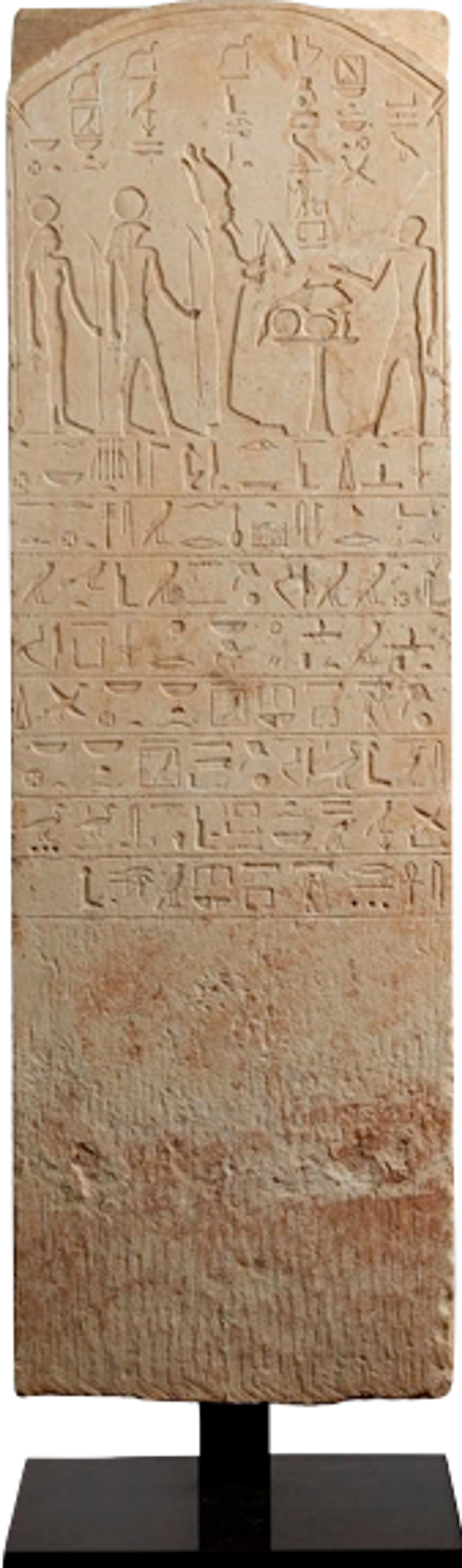 The 1.1m-high Late Period funerary stele, crafted in limestone, represents a priest named Padisena standing in front of an offerings table among the deities Hotus, Hathor and Osiris Courtesy of the Manhattan District Attorney's Office