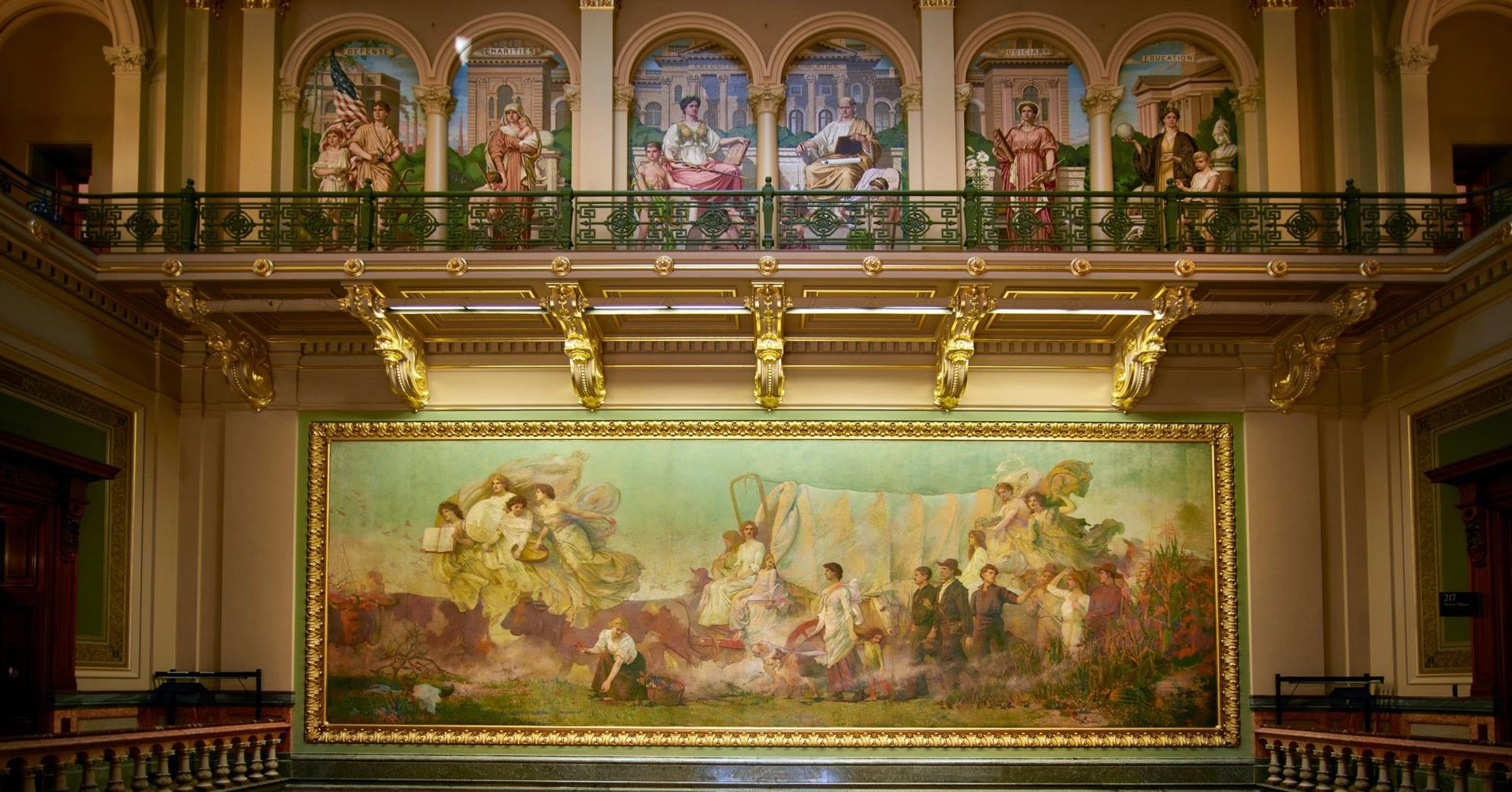 The mural Westward, at the Iowa State Capitol in Des Moines, by Edwin H. Blashfield, depicts the migration of white settlers Photographs in the Carol M. Highsmith Archive, Library of Congress, Prints and Photographs Division