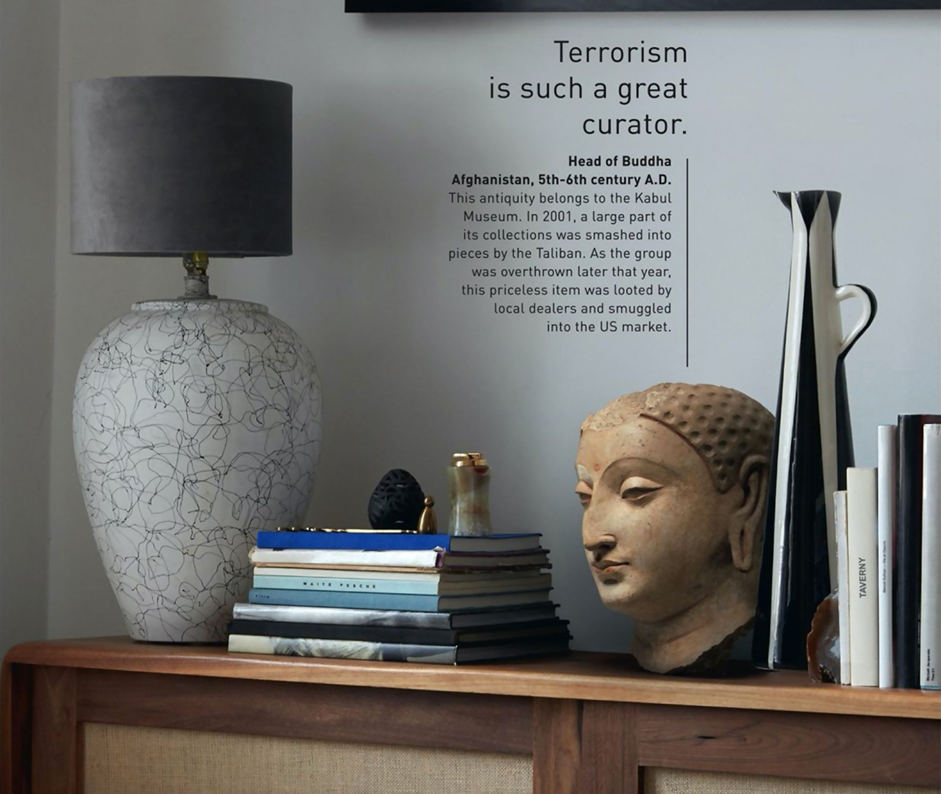A head of Buddha from the fifth to sixth century is described in a Unesco advertising campaign as having been looted in Kabul in 2001 Unesco