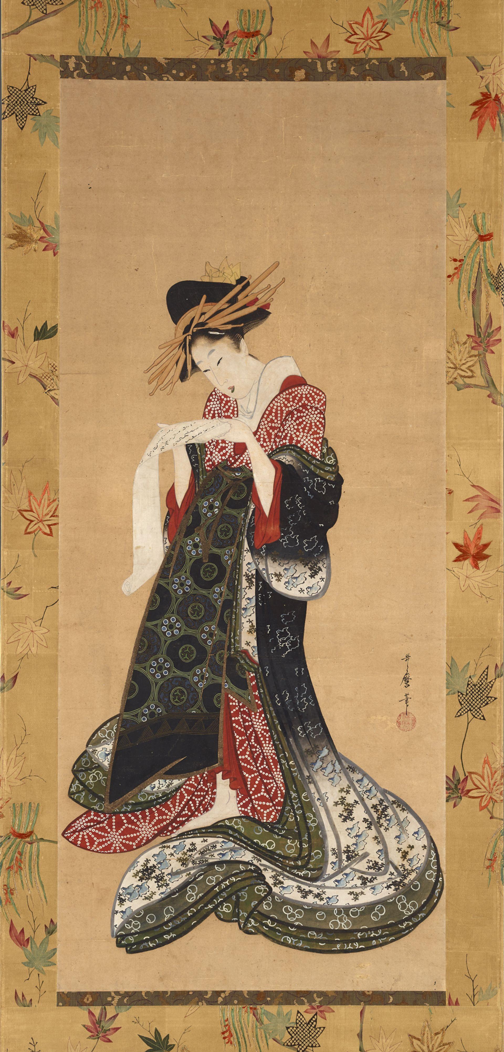 Kitagawa Utamaro's Courtesan reading a letter (around 1805-06) ©  The  Trustees  of  the  British  Museum