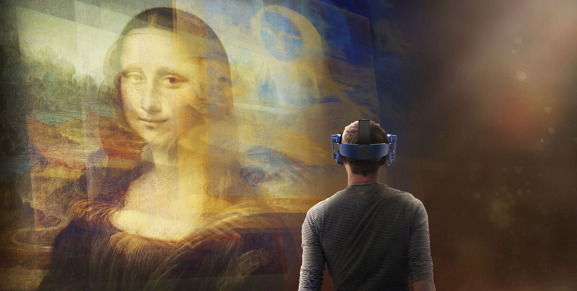 A visualisation of Mona Lisa: Beyond the Glass at the Louvre, which coincides with the museum's Leonardo show Courtesy of Emissive and HTC VIVE Arts