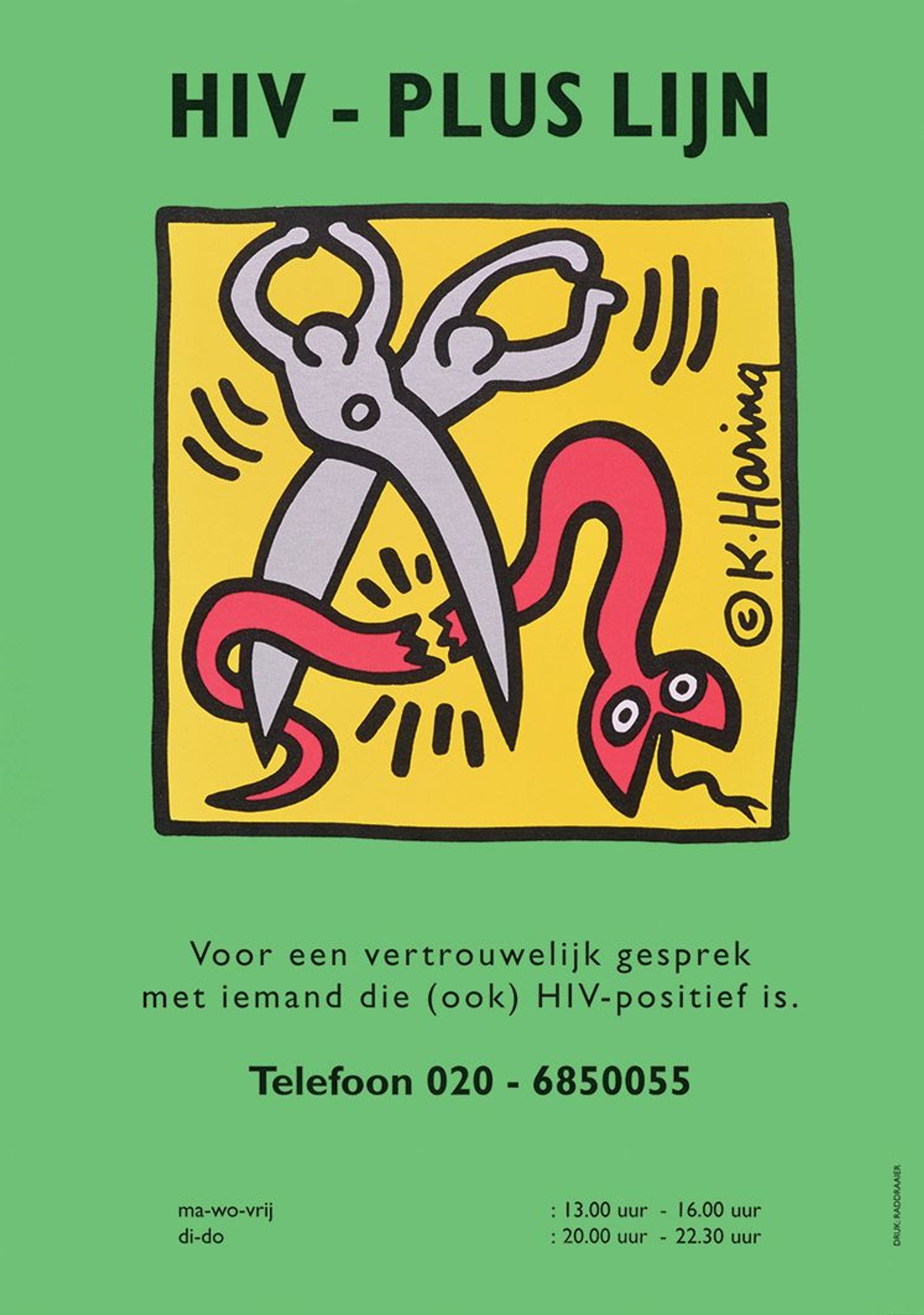 An HIV-Aids education poster, with an image by Keith Haring, appeared in the Netherlands in 1990