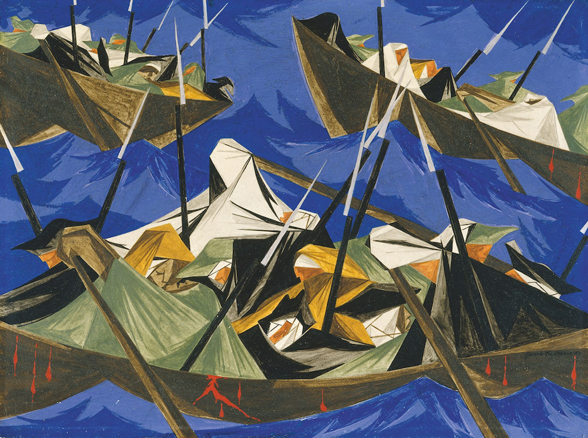 Jacob Lawrence, We crossed the River at McKonkey's Ferry 9 miles above Trenton . . . the night was excessively severe . . . which the men bore without the least murmur . . . —Tench Tilghman, 27 December 1776 , Panel 10, 1954, from Struggle: From the History of the American People , 1954–56 © The Jacob and Gwendolyn Knight Lawrence Foundation, Seattle/Artists Rights Society (ARS), New York