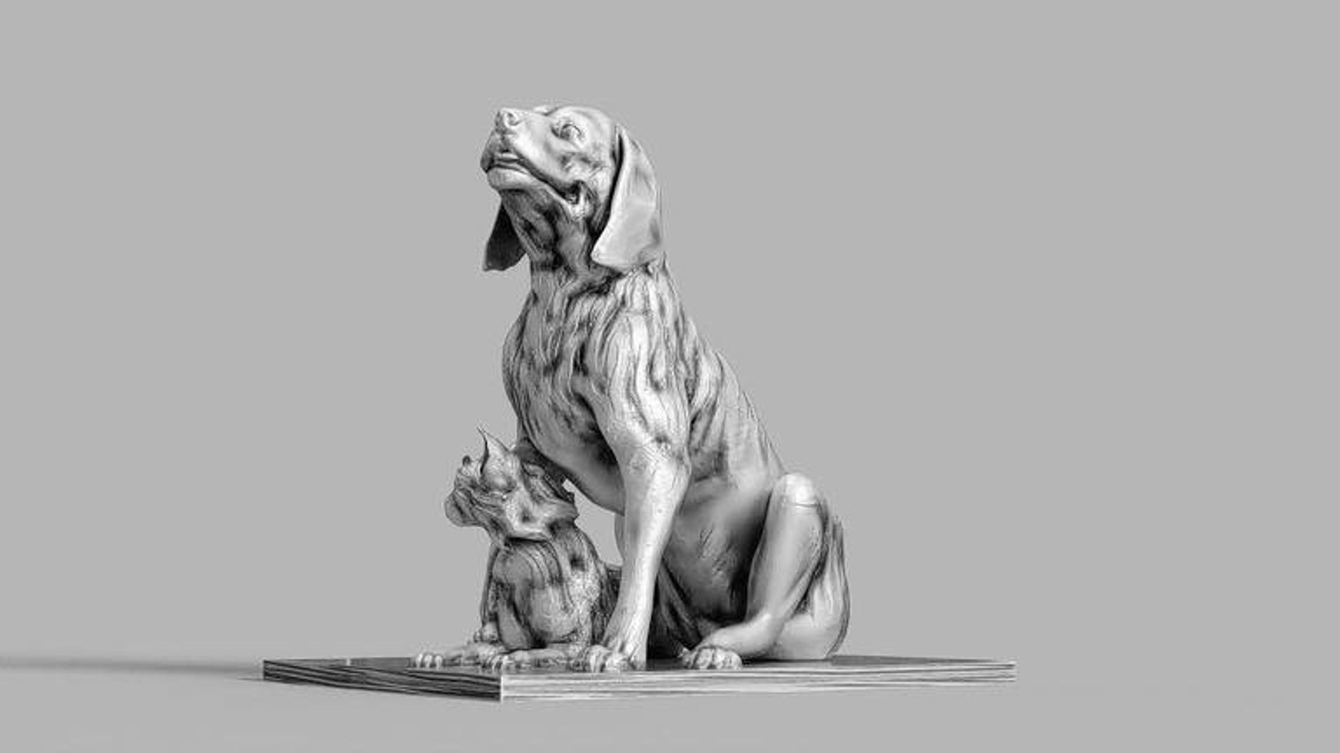 A rendering of a dog and cat statue that would be installed in Maurice Ferré Park as part of a proposed sculpture garden