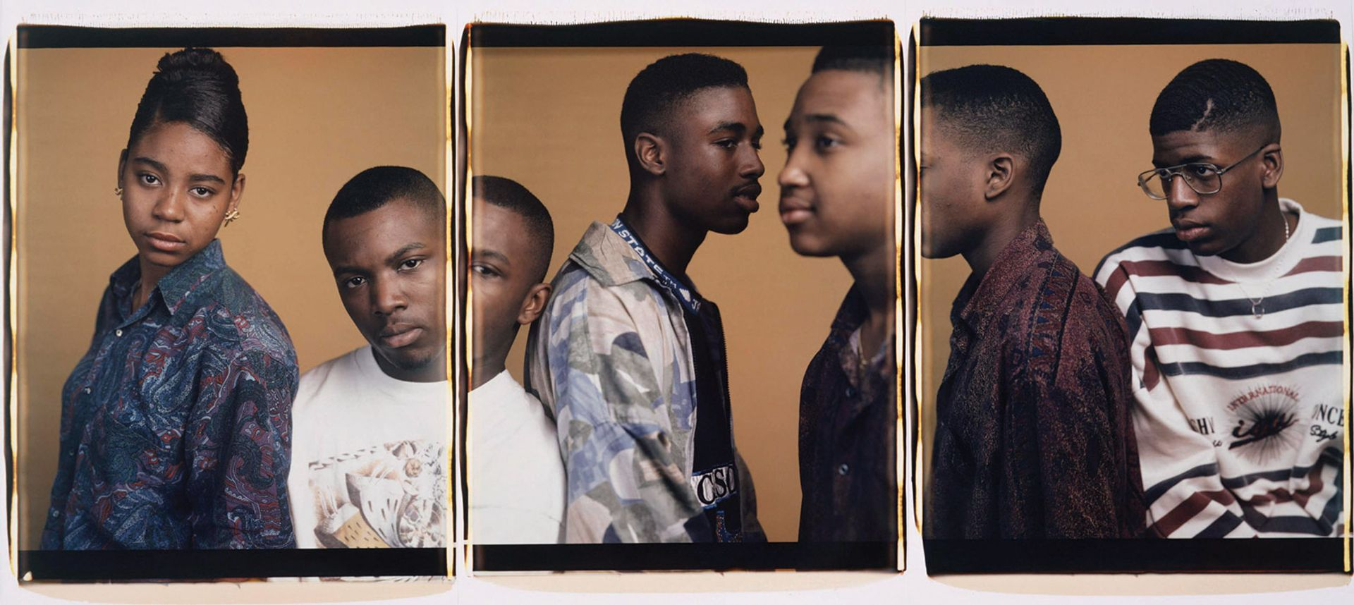 Dawoud Bey's Sharmaine, Vicente, Joseph, Andre, and Charlie (1993), is in Toward Common Cause show Courtesy of the artist