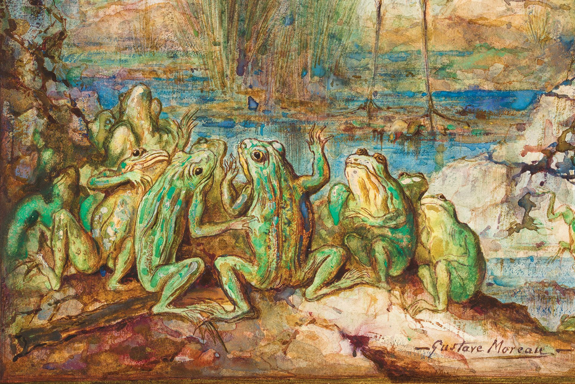"""""""Drunk on colour"""": A detail of The Frogs Who Ask for a King (1884), one of Gustave Moreau's 34 surviving Fables illustrations © Jean-Yves Lacote"""